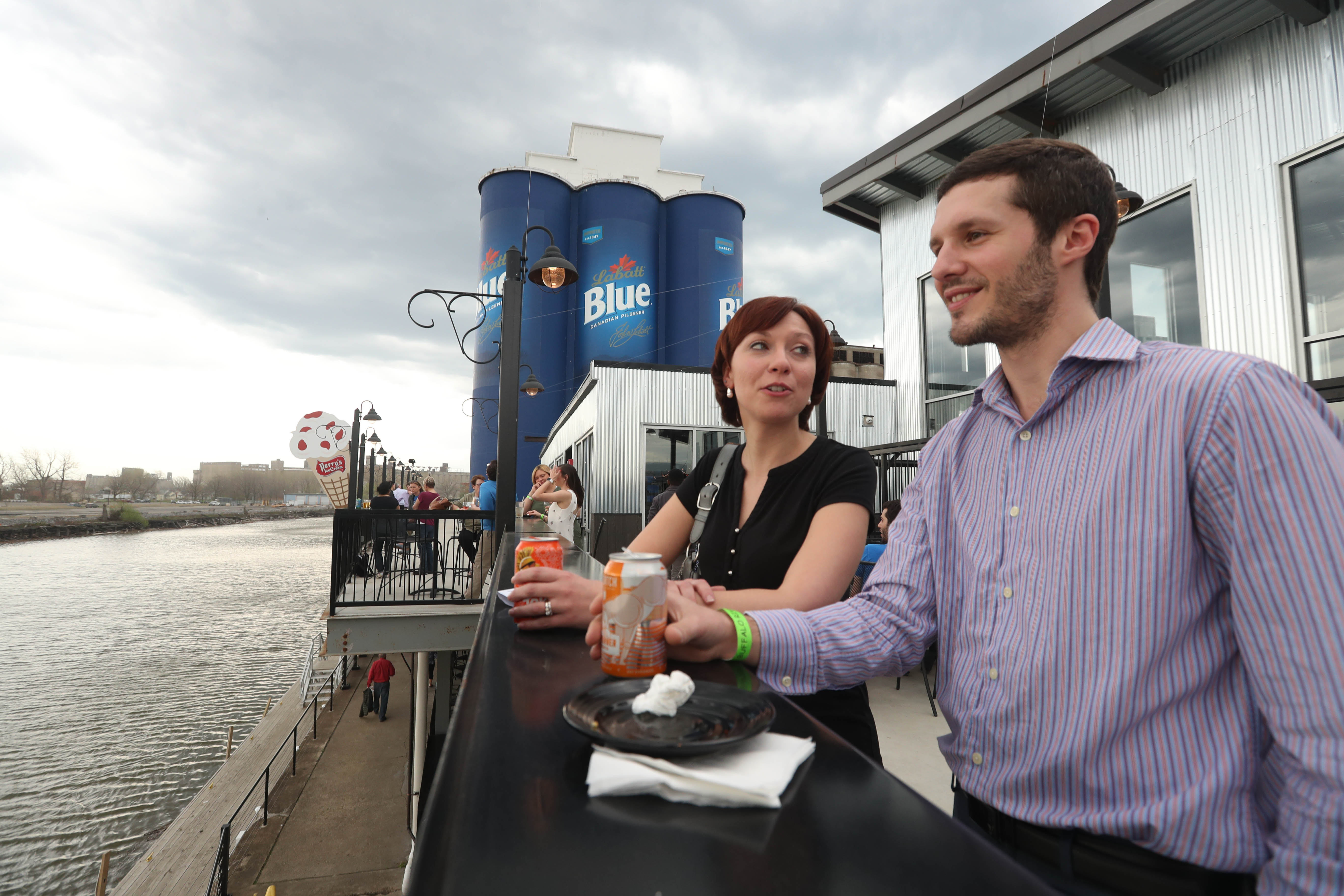 The patio at Buffalo RiverWorks has views of the waterfront and the oversized Labatt Blue cans. (Sharon Cantillon/Buffalo News file photo)