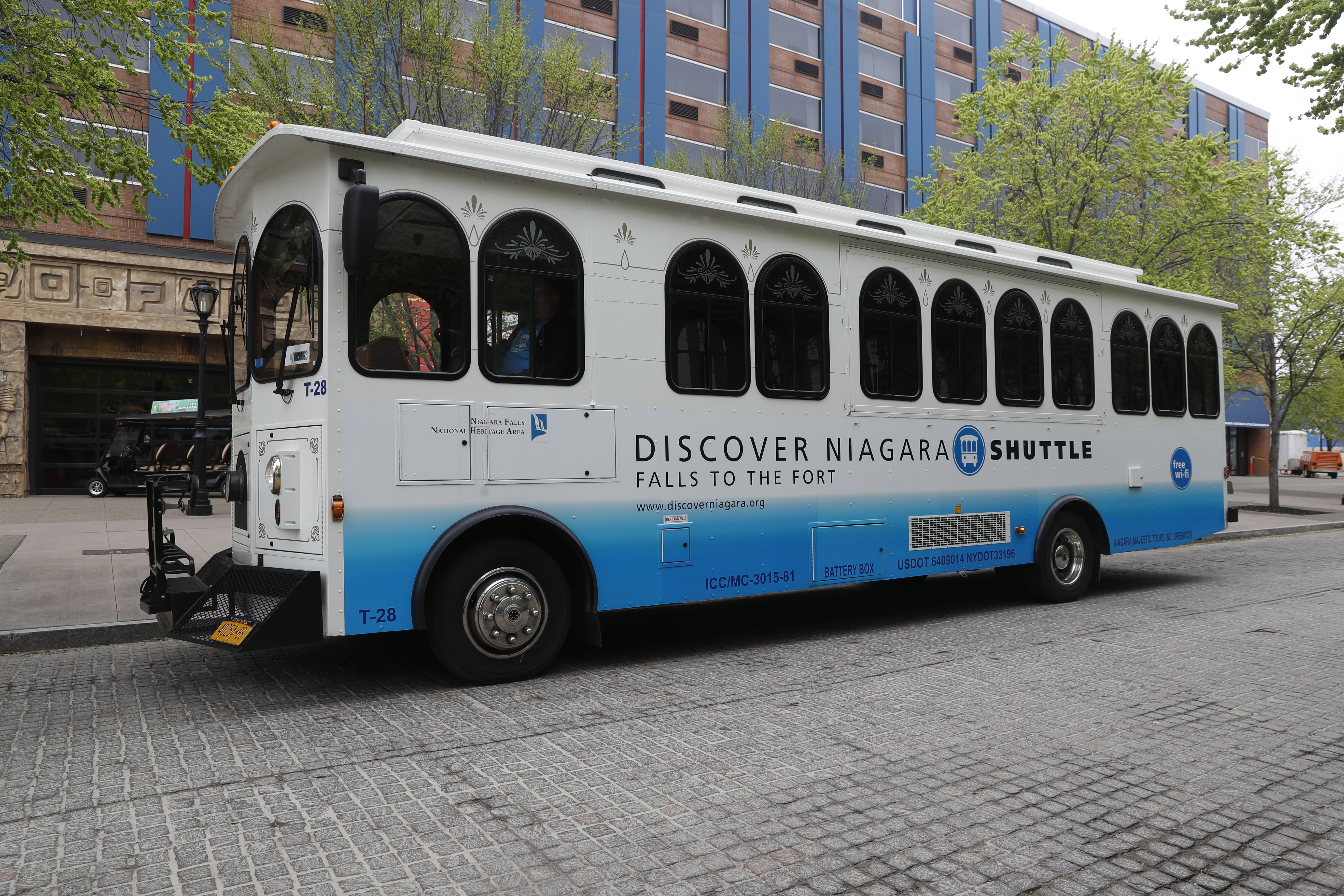 The Discover Niagara Shuttle has begun its  weekend service and will start daily service May 19.  Last year, it carried more than 33,000 riders to more than a dozen business areas and historic sites from Niagara Falls to  Old Fort Niagara. (John Hickey/Buffalo News)