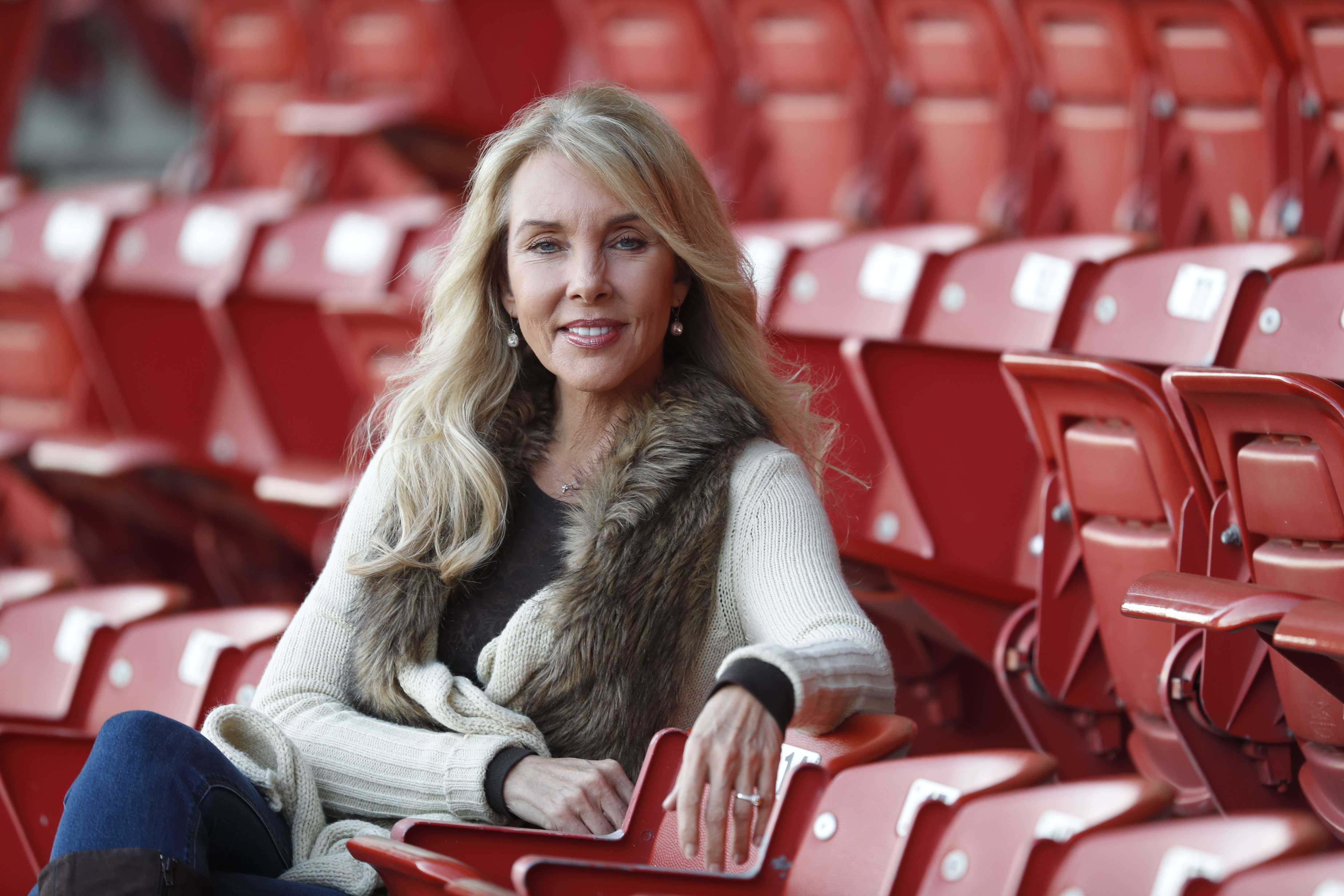 Gari Meacham, photographed in the Coca-Cola Field stands, confidently shares some of the vulnerable moments of her life as a baseball wife. She is married to Bisons manager Bobby Meacham. (Harry Scull Jr./Buffalo News)