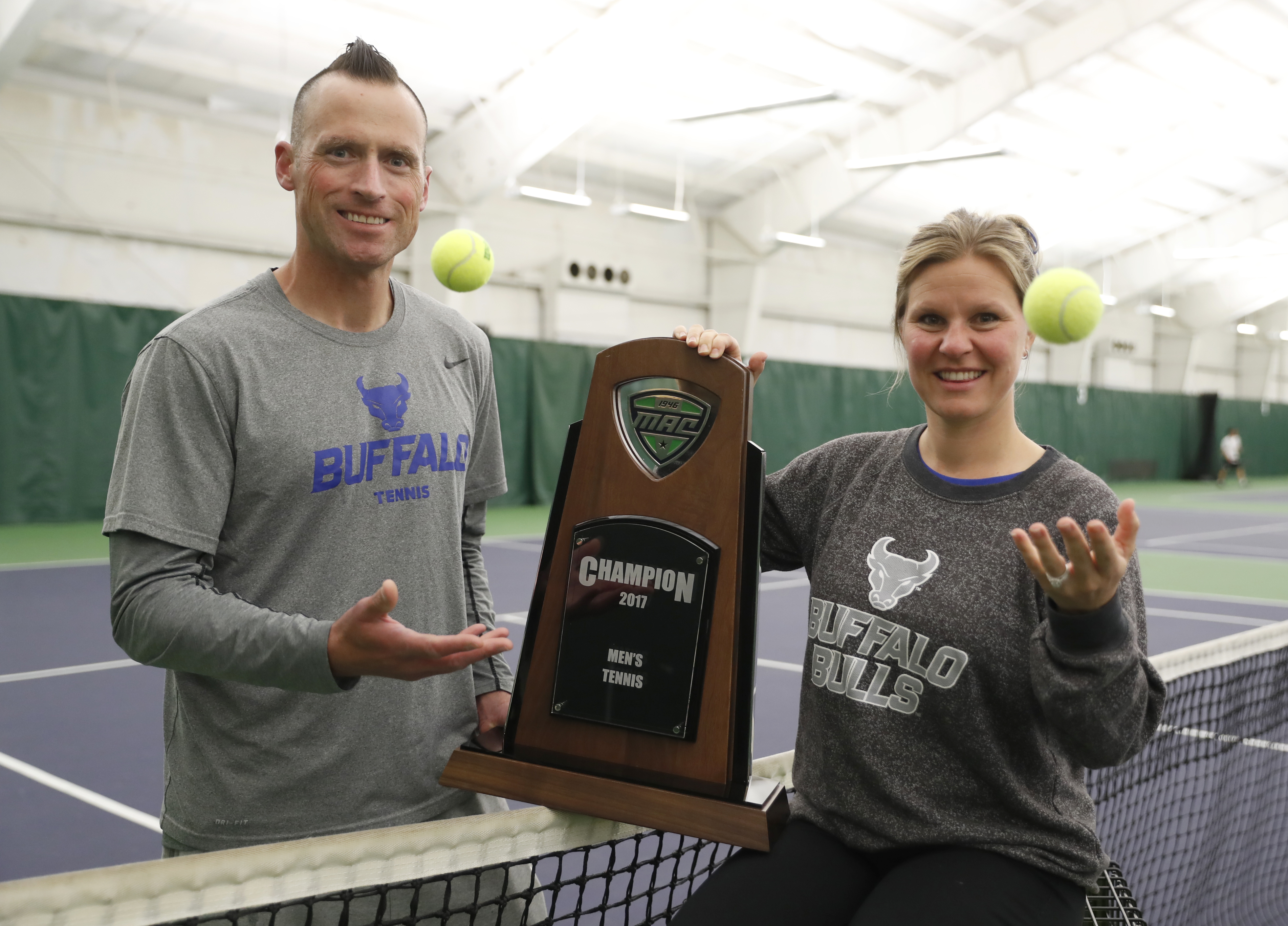 University at Buffalo tennis coaches Lee Nickell (men) and Kristen Maines (women) both have their teams headed to the NCAAs. (Harry Scull Jr./Buffalo News)
