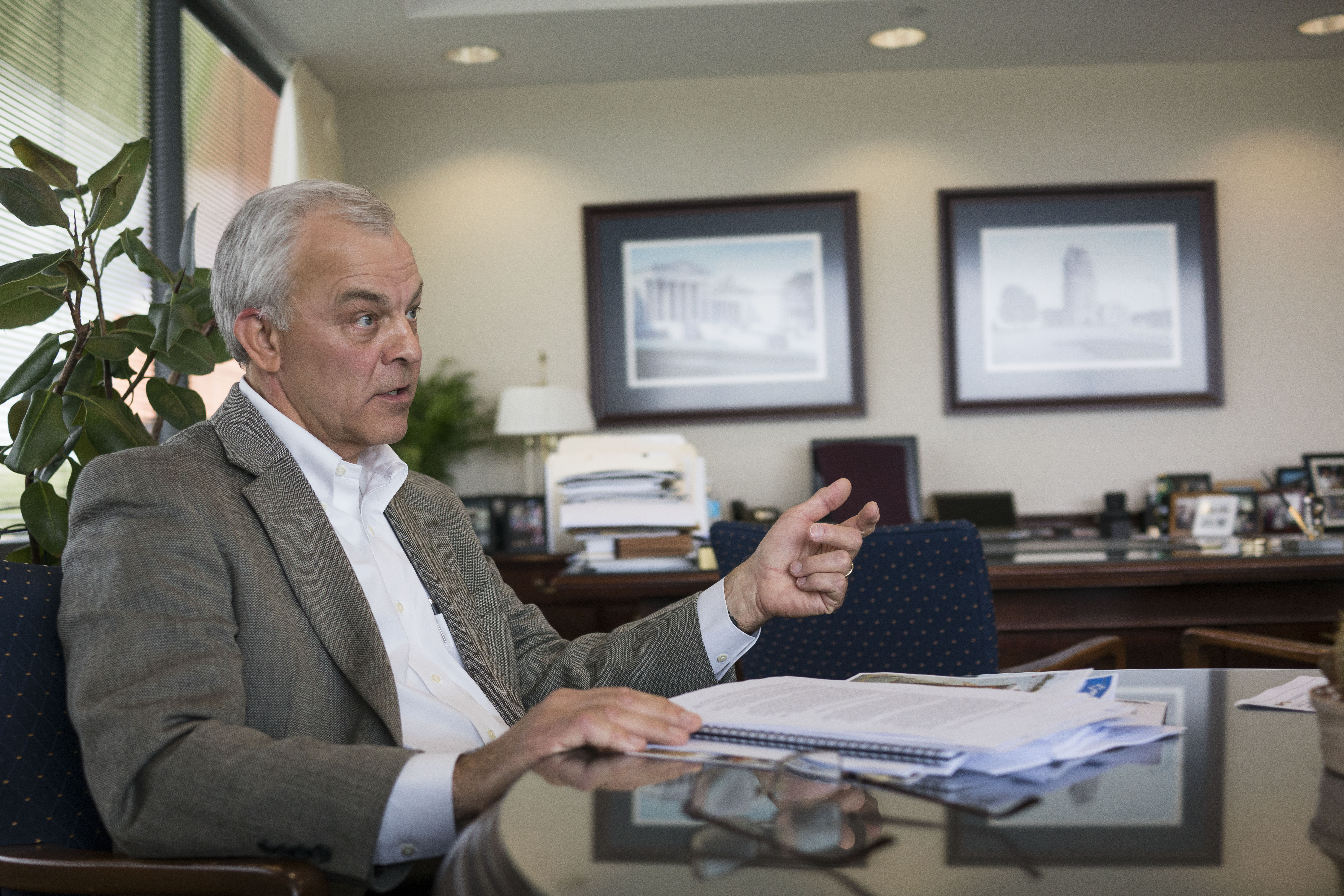 Ronald Tanski, CEO of National Fuel Gas, in his office at the company's Amherst corporate headquarters.  (Derek Gee/Buffalo News)
