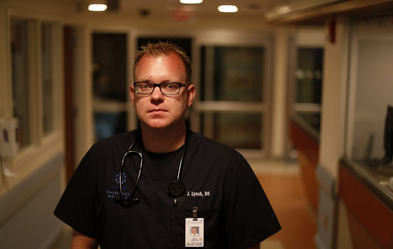 Dr. Joshua Lynch, an emergency room doctor at ECMC and Kaleida Health, is involved in an initiative in Erie County to establish medication-assisted addiction treatment in emergency rooms. (Mark Mulville/Buffalo News)