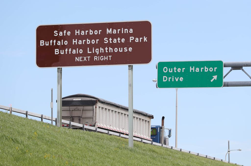 Signs have gone up directing motorists on Route 5 to the Outer Harbor.  These are signs for motorists in the westbound lanes. Photo taken, Tuesday, May 9, 2017. (Sharon Cantillon/Buffalo News)