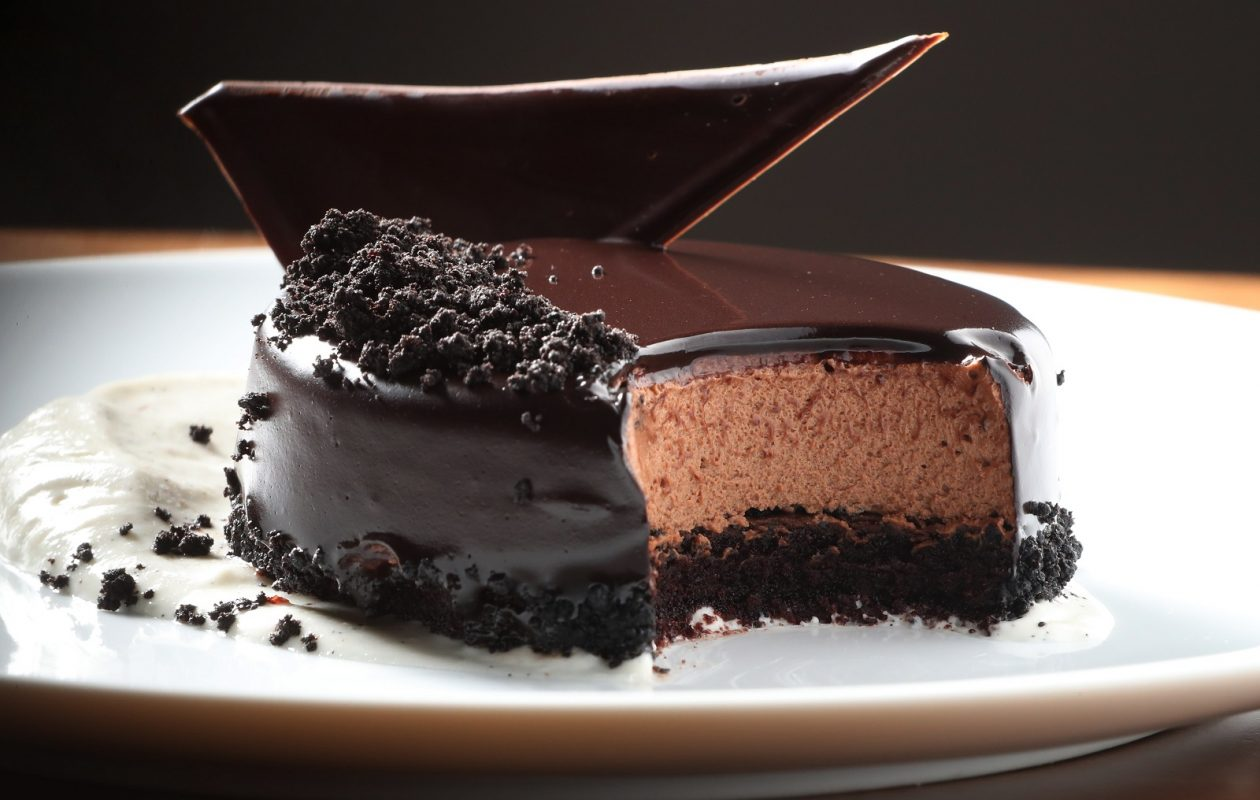 Carte Blanche at 61 Buffalo St. in Hamburg offers a chocolate mousse cake for dessert. It's 72 percent chocolate mousse with a shine glaze and sable crumble. (Sharon Cantillon/Buffalo News)