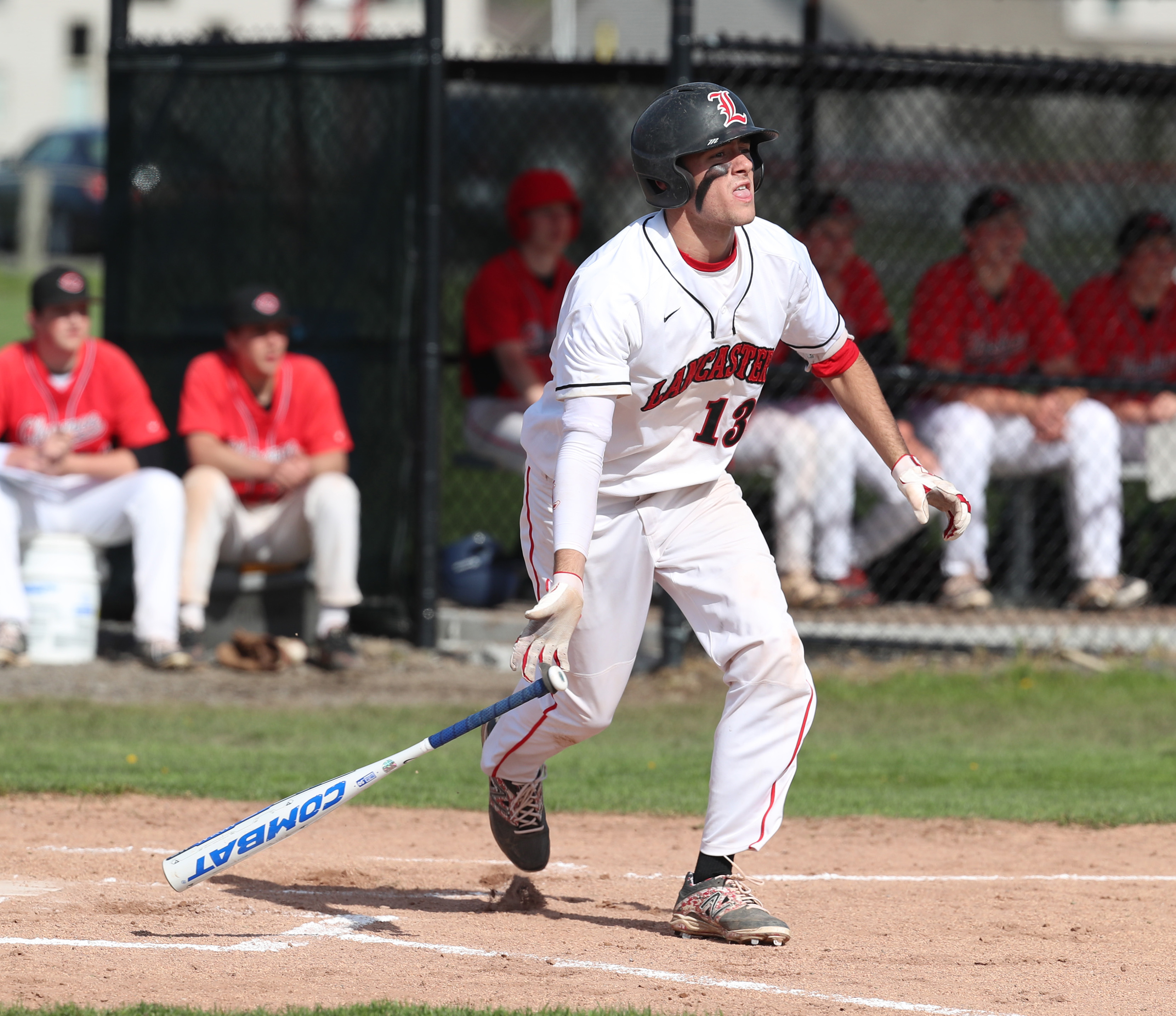 Lancaster's Max Giordano hits a home run in the first inning. (James P. McCoy/Buffalo News)