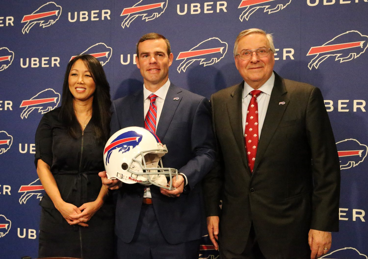 New GM Brandon Beane with Bills owners Kim and Terry Pegula at Beane's introductory press conference. (James P. McCoy/Buffalo News)