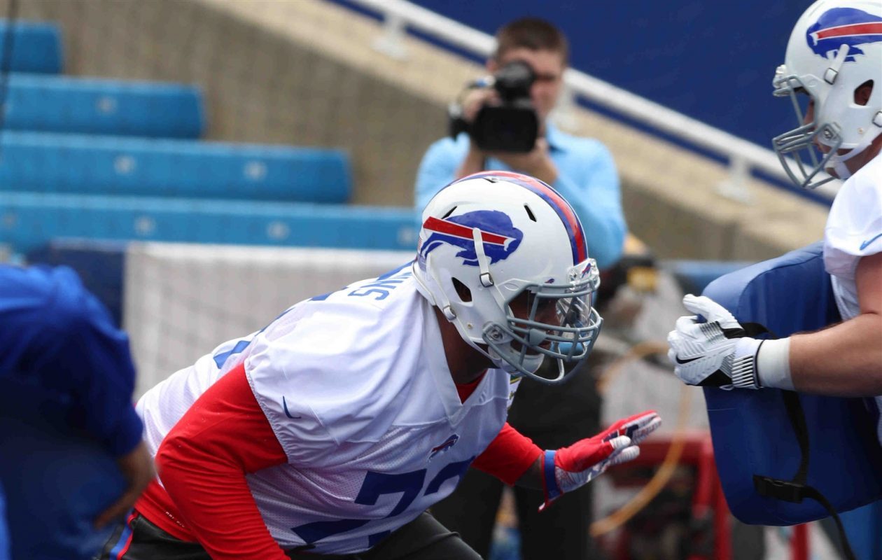 Second-round draft pick Dion Dawkins is expected to compete with Jordan Mills for the starting job at right tackle. (James P. McCoy/Buffalo News)