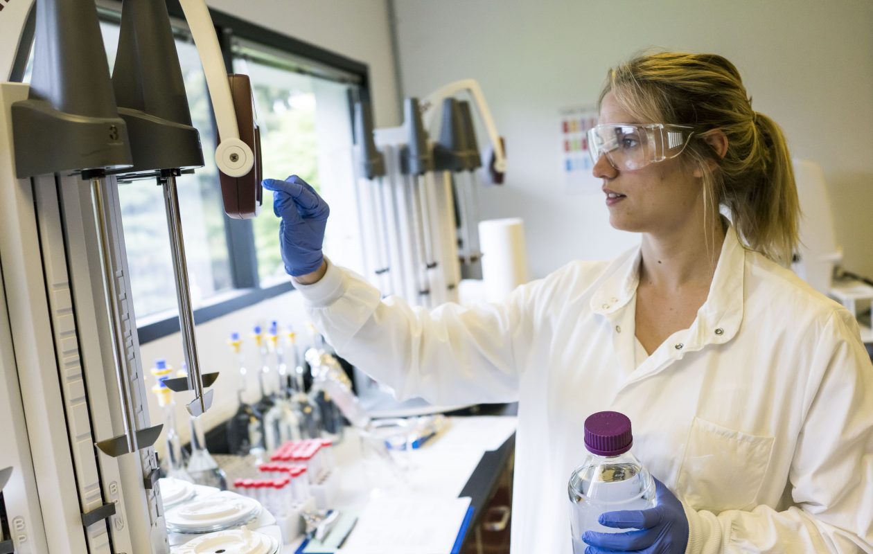 Quality control analyst Laura Miller runs tests in the laboratory at the Athenex facility in Newstead.  (Derek Gee/Buffalo News)