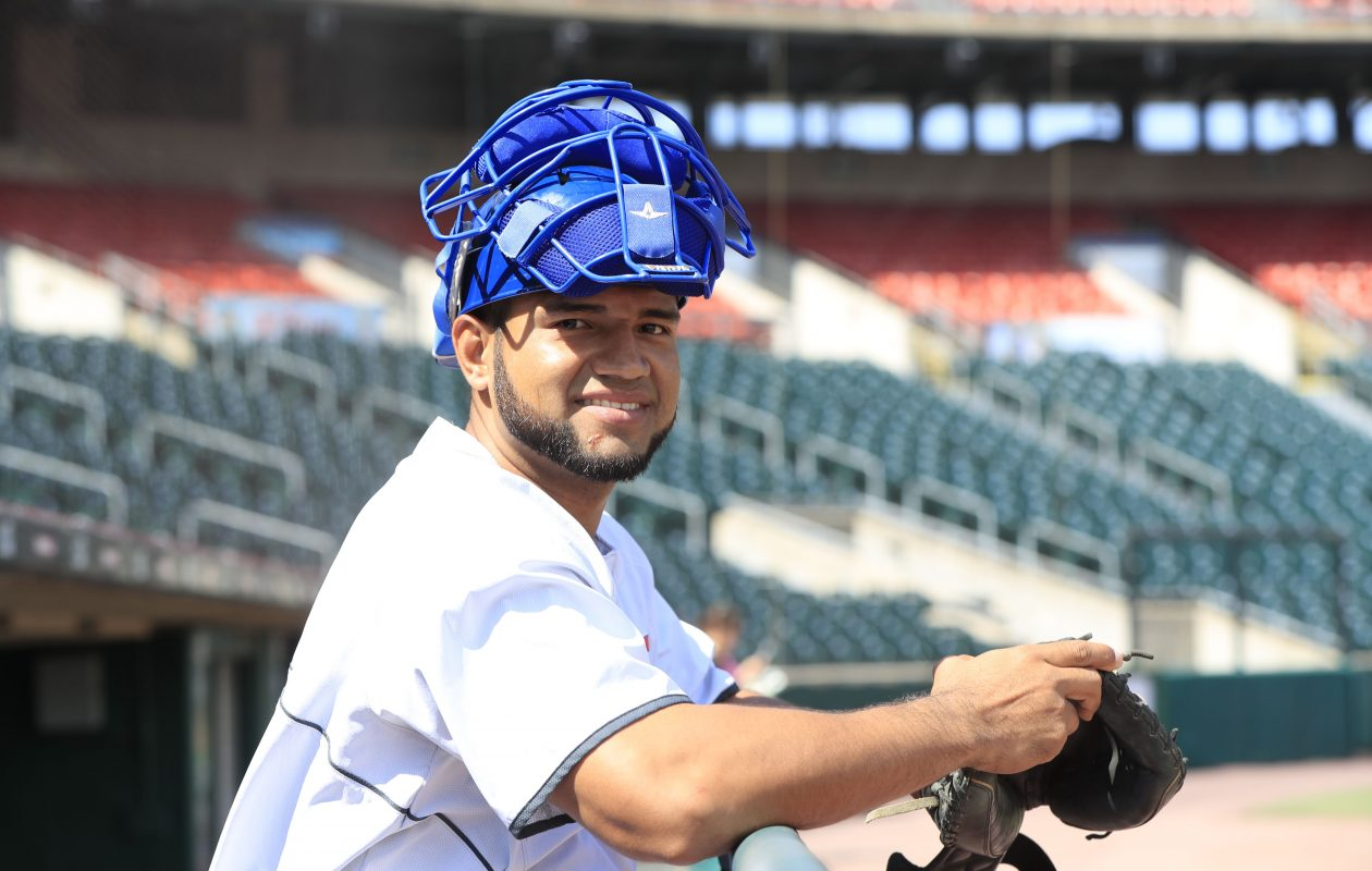 Buffalo Bisons catcher Alex Monsalve routinely sends food and other necessities back to his family in Venezuela.  (Harry Scull Jr./Buffalo News)