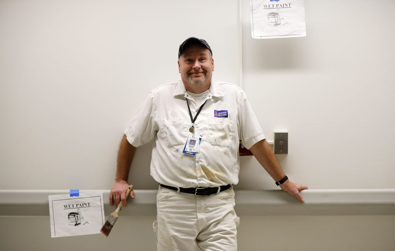 Lead painter Brian Pempsell at at Women and Children's Hospital in Buffalo. (Mark Mulville/Buffalo News)