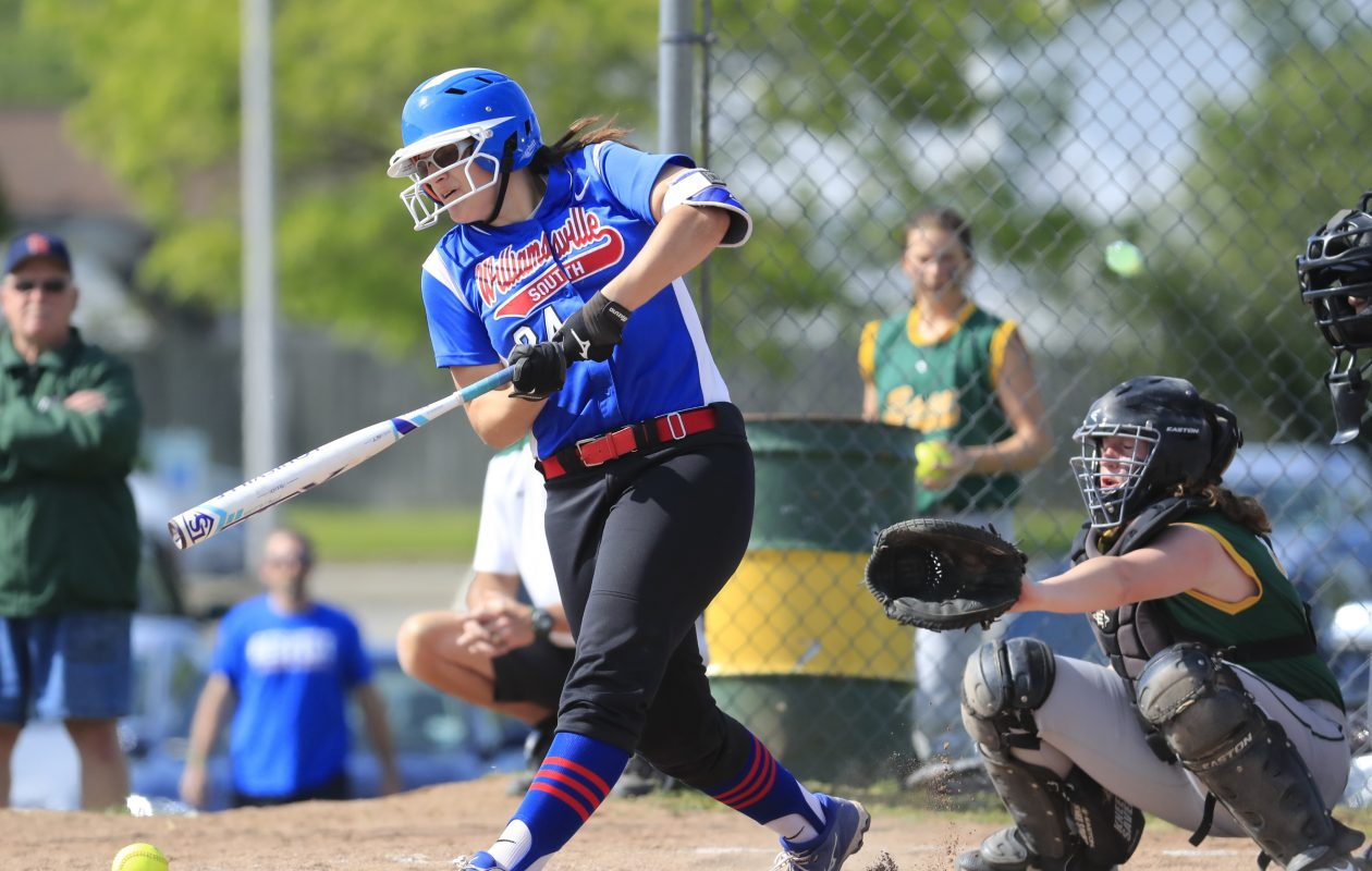 Williamsville South's Abby Kruse bats against West Seneca East in the first inning of their sectional playoff game Tuesday. South scored a 4-0 win. (Harry Scull Jr./Buffalo News)