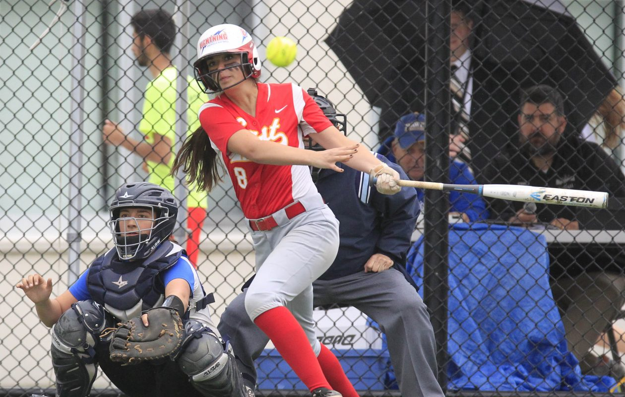 Williamsville East's Brianna Bucello hits an RBI double in the first inning during the Section VI Class A-1 final against Williamsville South. (Harry Scull Jr./Buffalo News)