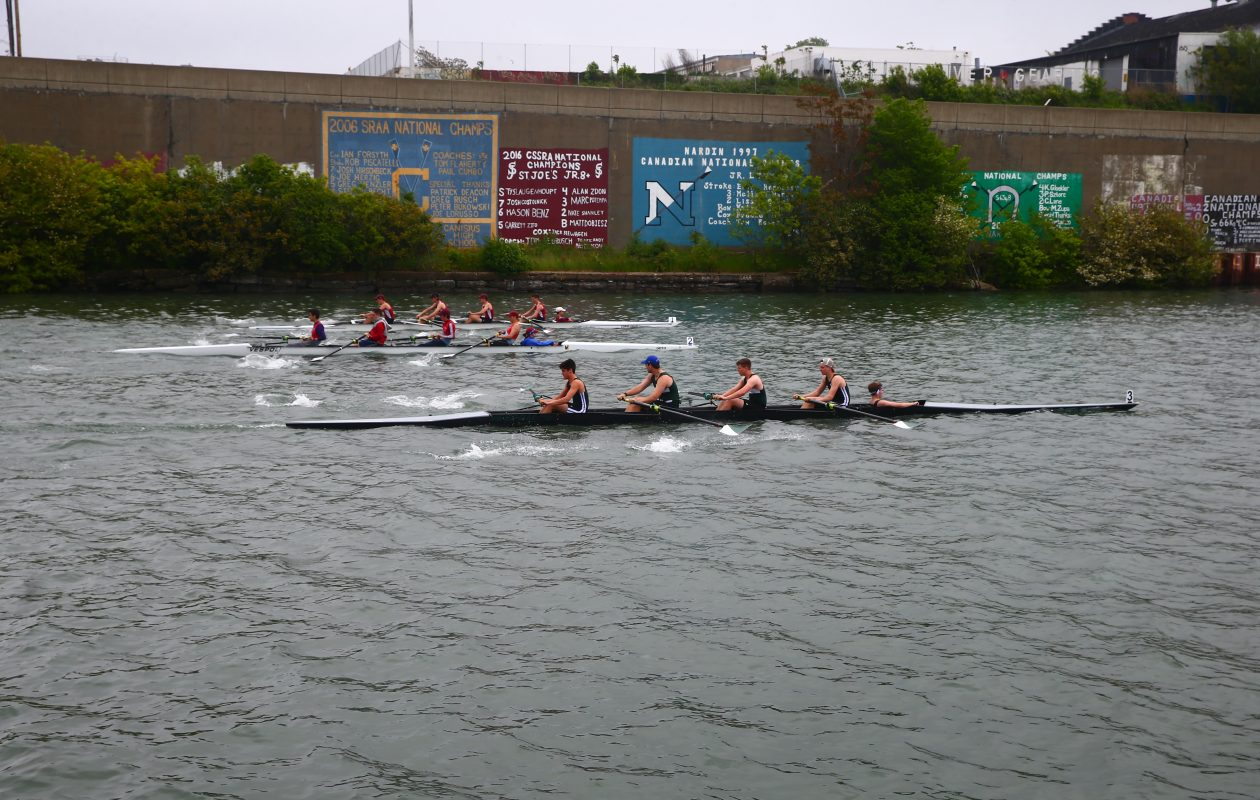 The start of the Boys 2 varsity 4 +  race as they compete in the Fontana All-High Regatta after a fog delay  at  West Side Rowing Club (John Hickey/Buffalo News).