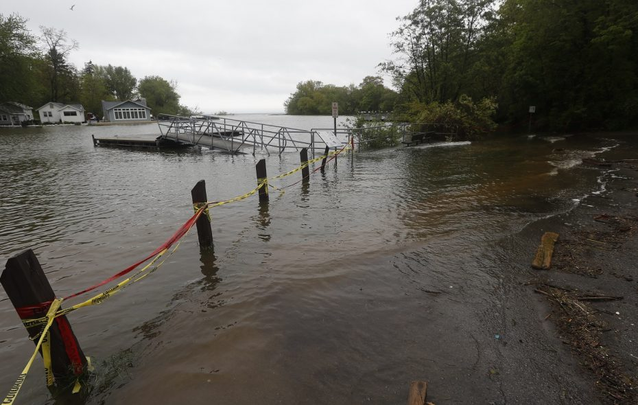 Flooding inundated the Lake Ontario shoreline in 2017. (John Hickey/Buffalo News)