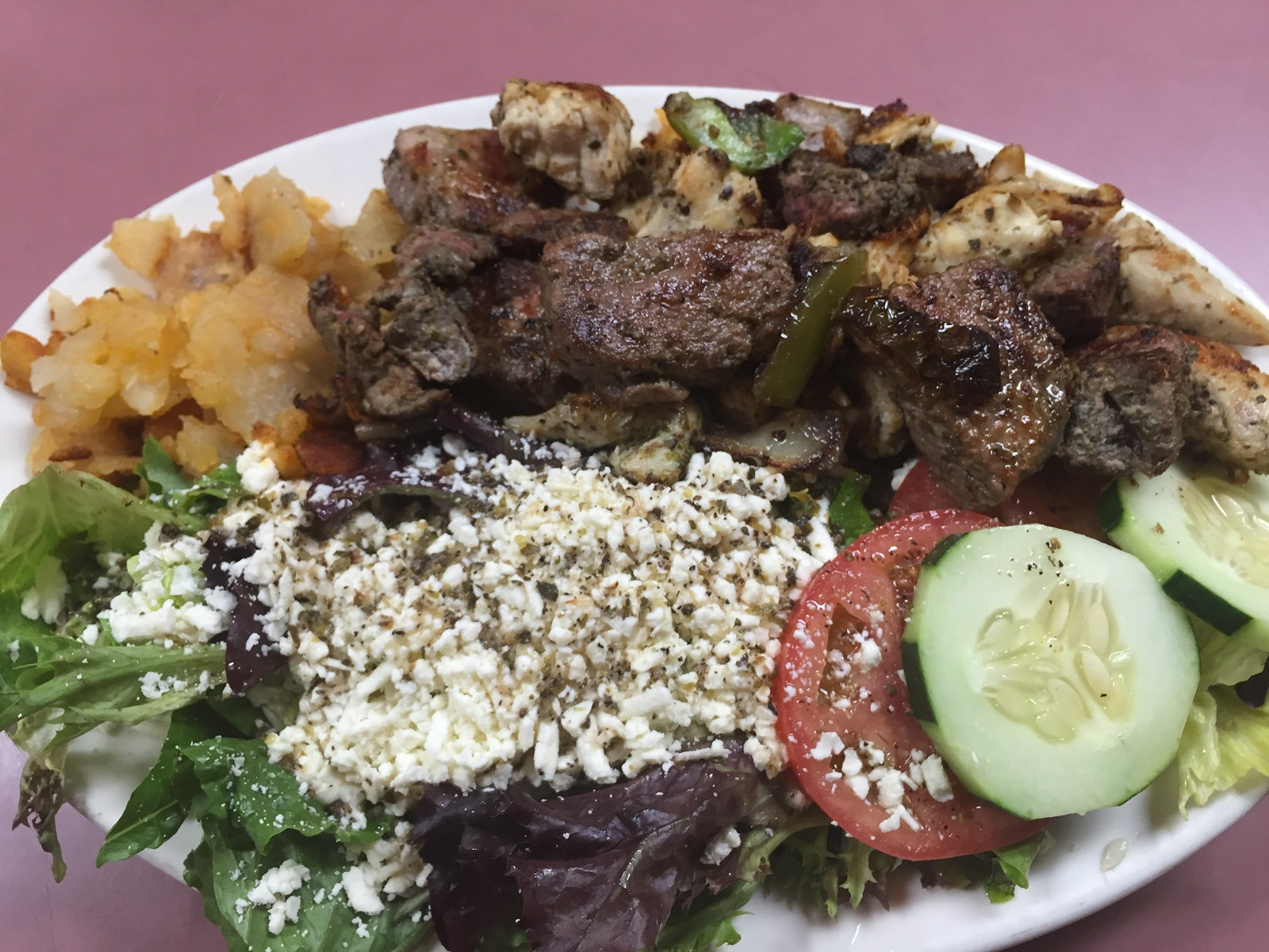 The mixed souvlaki, with both beef and chicken, is a signature item at 3 Star Family Restaurant in North Collins. (Elizabeth Carey/Special to The News.)