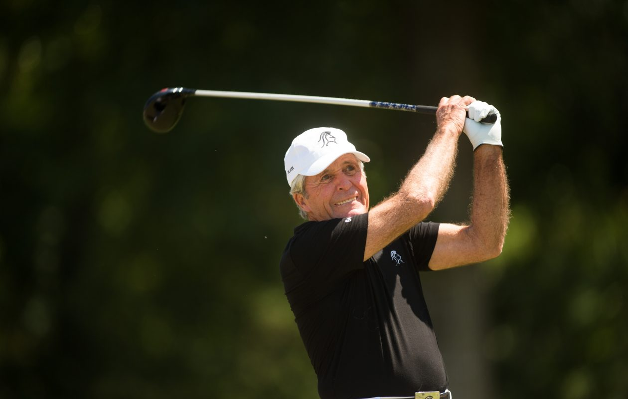 Gary Player of South Africa plays his tee shot at the 10th hole during the 3M Greats of Golf exhibition, played during the second round of the PGA TOUR Champions Insperity Invitational at The Woodlands Country Club on May 6, 2017, in The Woodlands, Texas. (Photo by Darren Carroll/Getty Images)