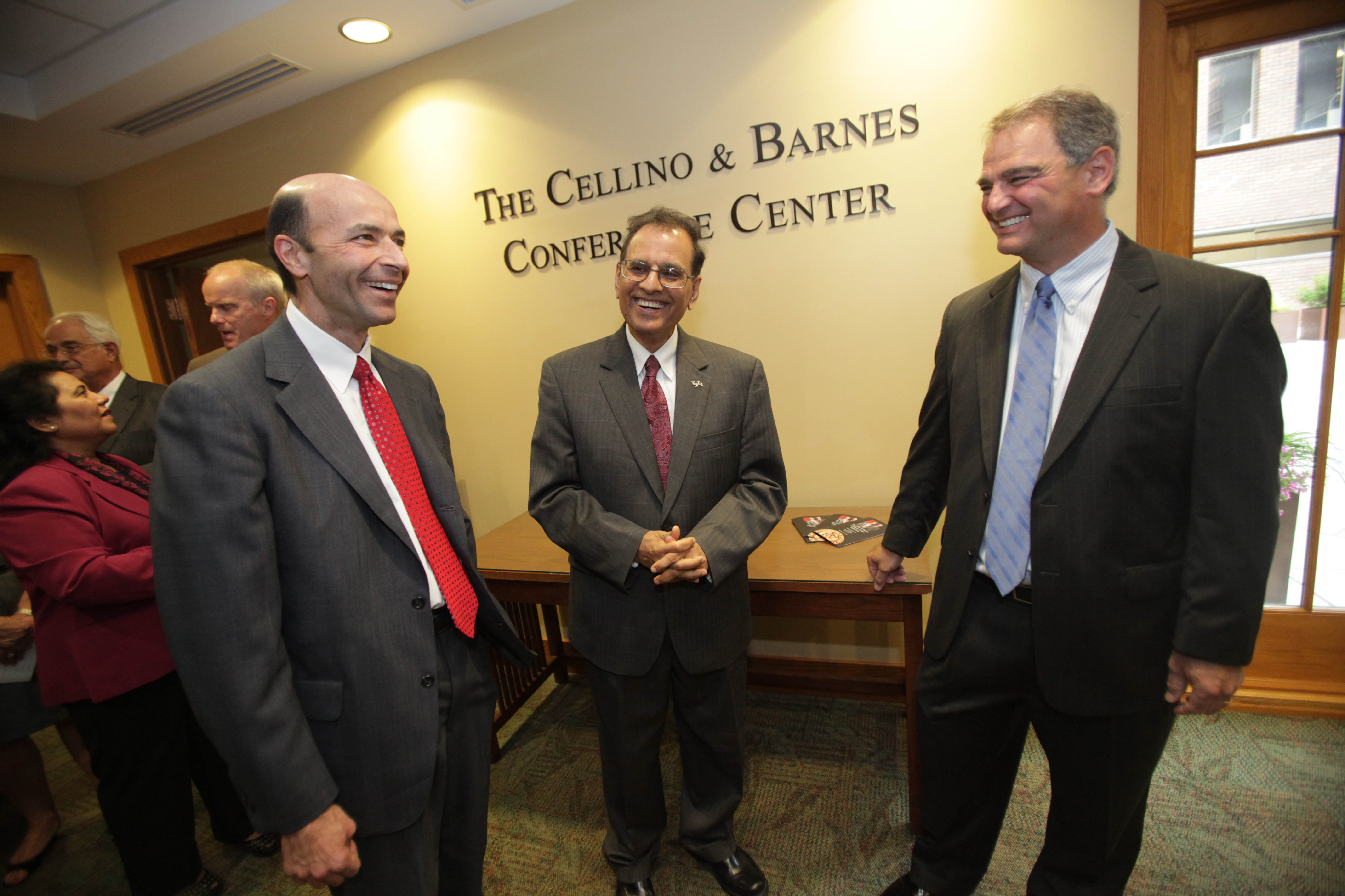 Steve Barnes and Ross Cellino Jr. attend the unveiling of the Cellino and Barnes Conference Center at UB Law School in 2011. (Sharon Cantillon/News file photo)