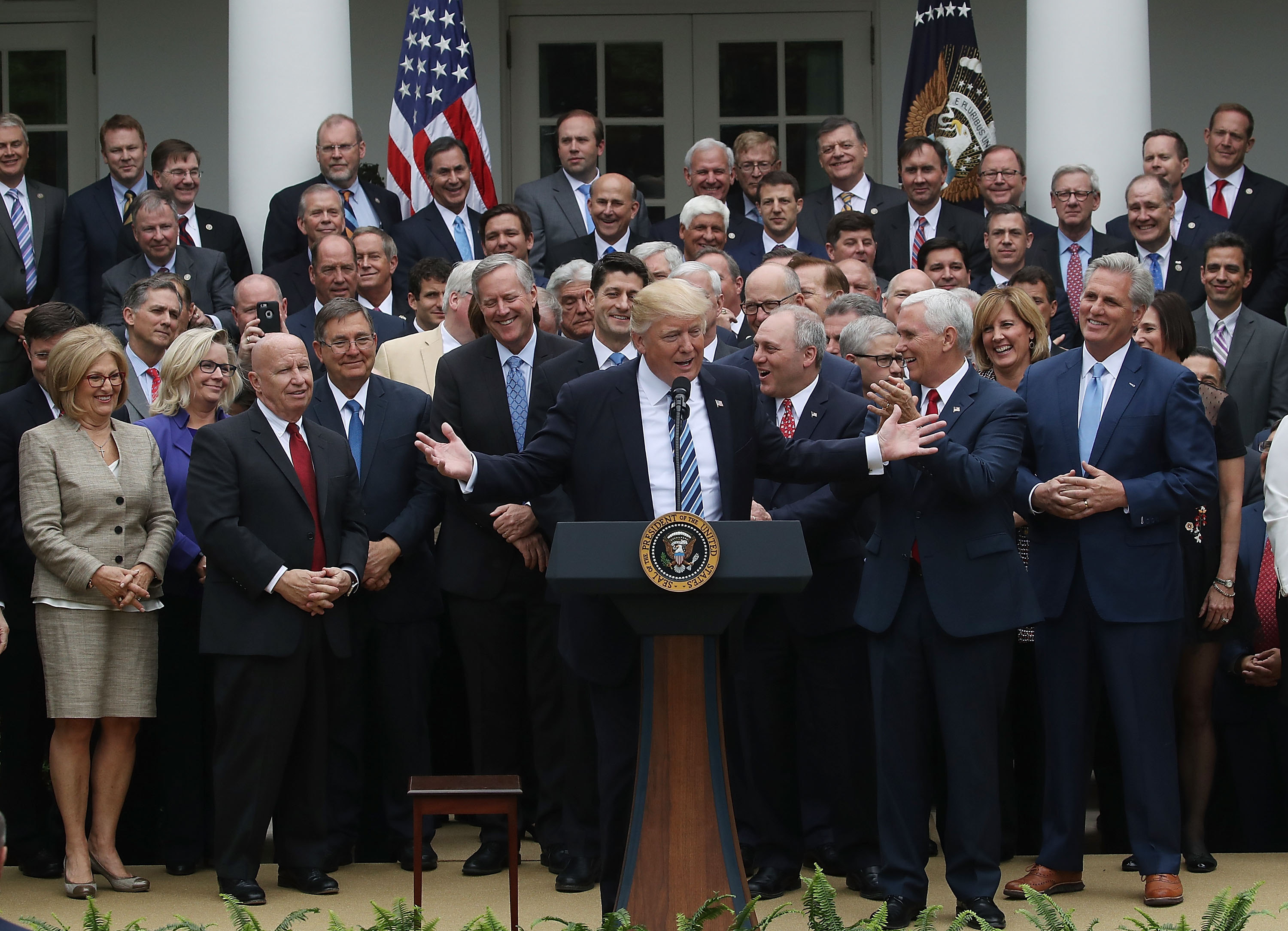 President Trump and House Republicans celebrated passage of the American Health Care Act, although it would hurt those on Medicaid or with pre-existing conditions. (Getty Images)