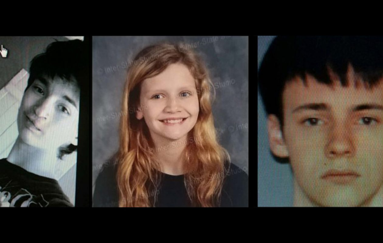 McKenzie R. Wilson, 12, center, was abducted Tuesday morning in Cattaraugus County, according to police. The two suspects are John Harvey, 16, left and Joshua R. Monette, 18, right. (State Police)