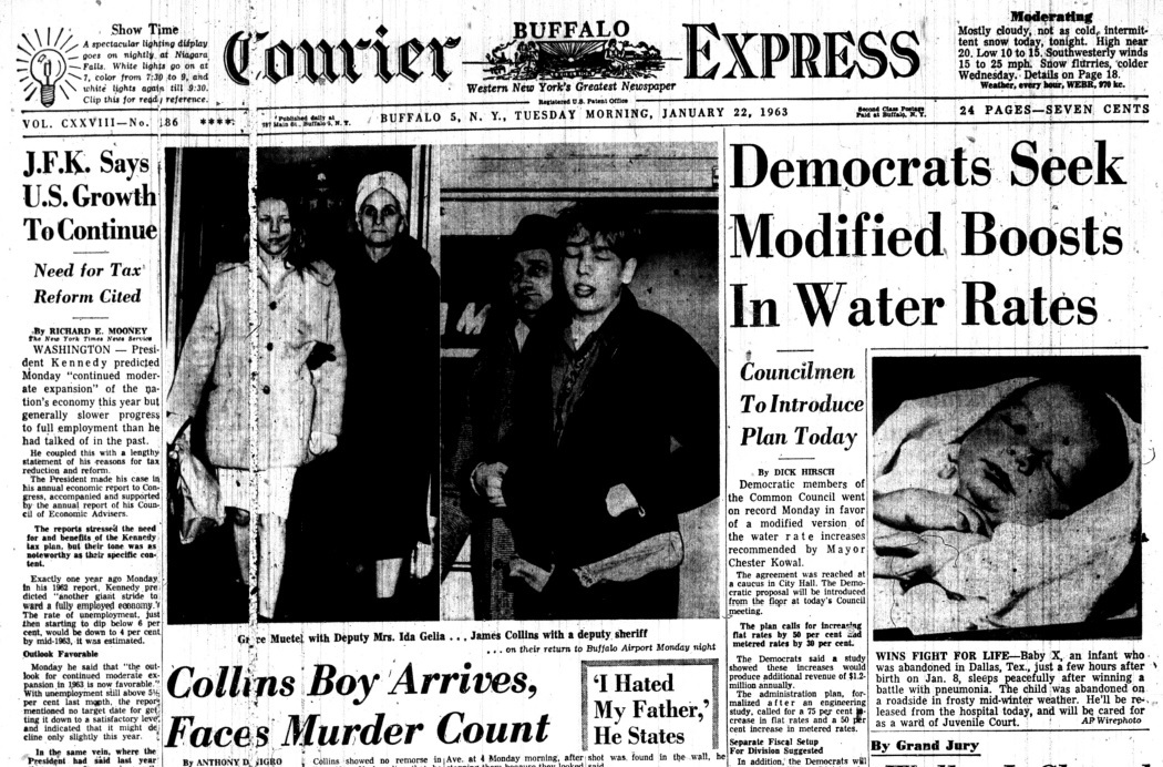 Front page of the Jan. 22, 1963, edition of the Buffalo Courier-Express.  Pictured are teenagers Grace Muetel, left, and James Collins after their arrest in New York City in connection to the murder of Howard Collins.