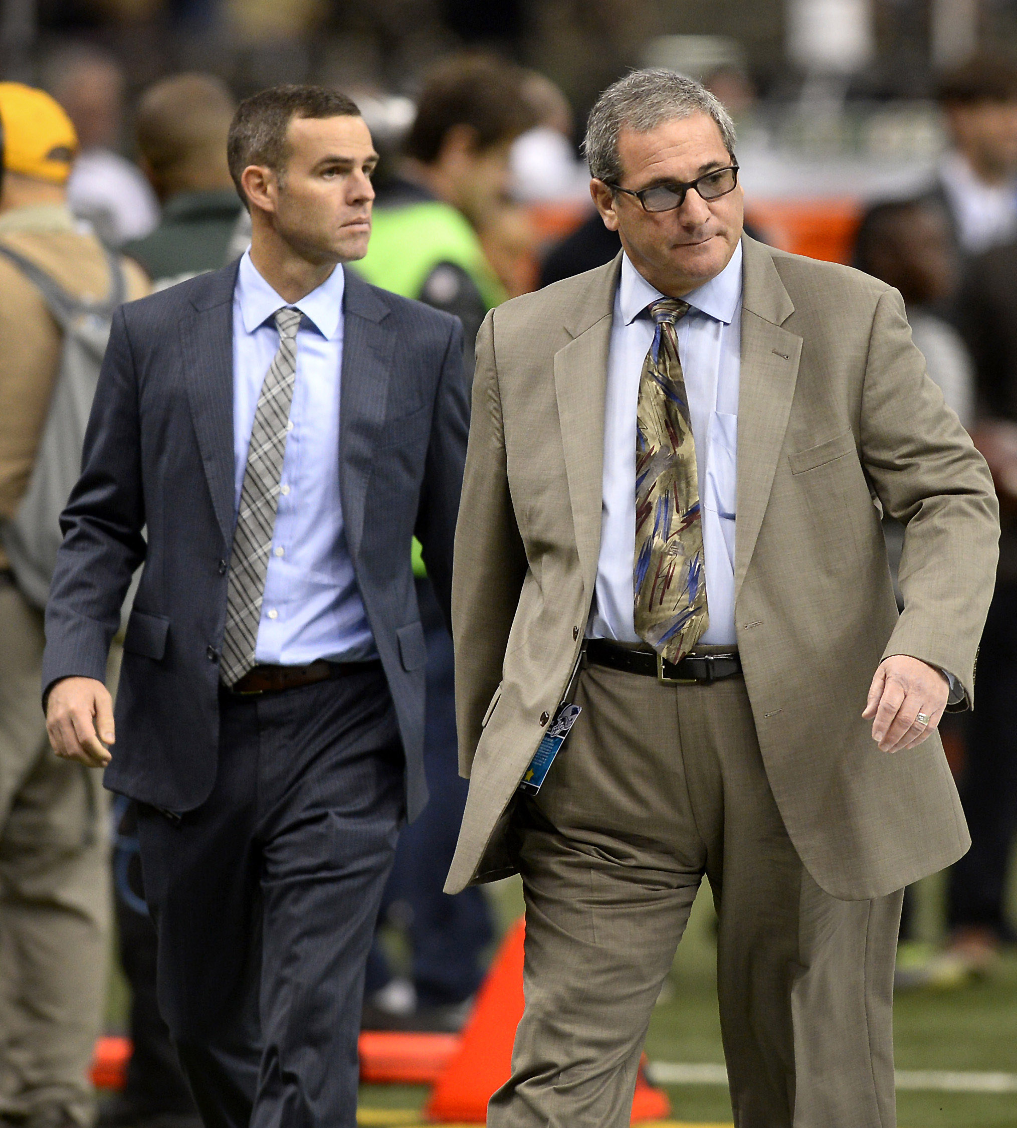 Brandon Beane, Carolina Panthers Director of Football Operations, left, with general manager Dave Gettleman during the 2014 season. (Charlotte Observer)