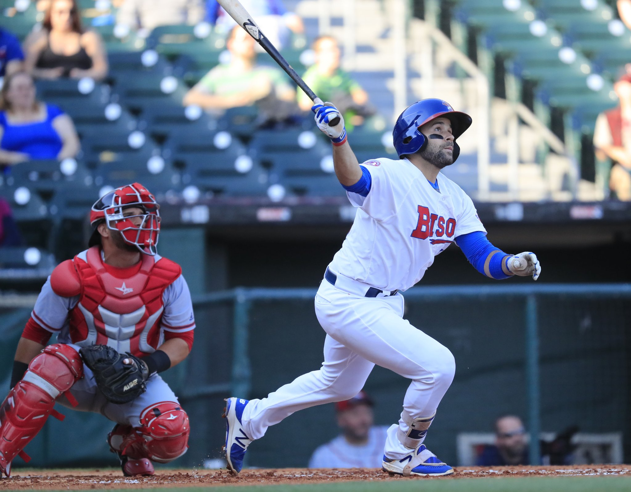 Catcher Raffy Lopez starred for the Bisons Tuesday against Syracuse. (Harry Scull Jr./Buffalo News)