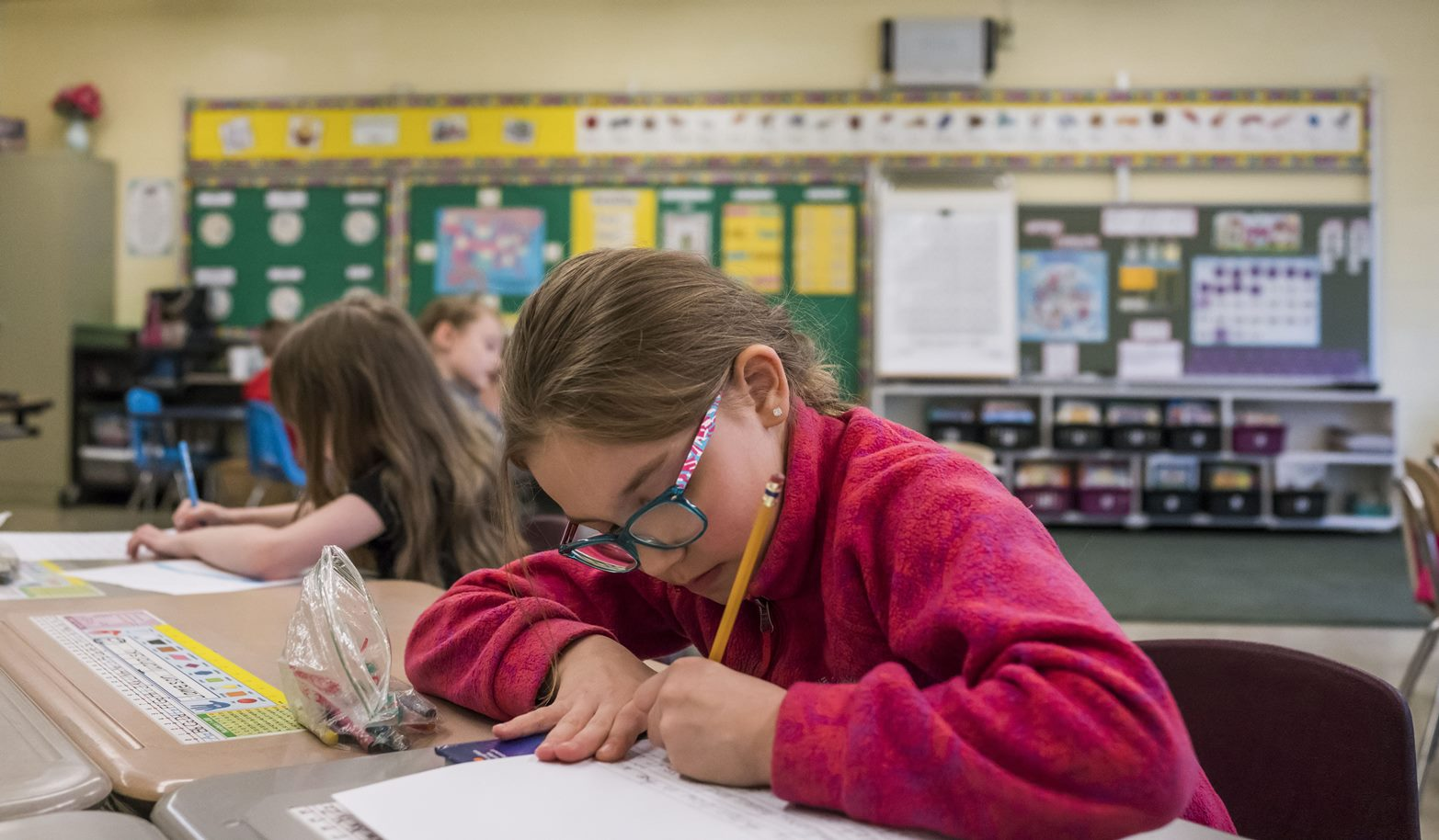 Isabella Gascon works on a class assignment in Mrs. Maida's first grade class at Clinton Street Elementary School in West Seneca.  (Derek Gee/Buffalo News)