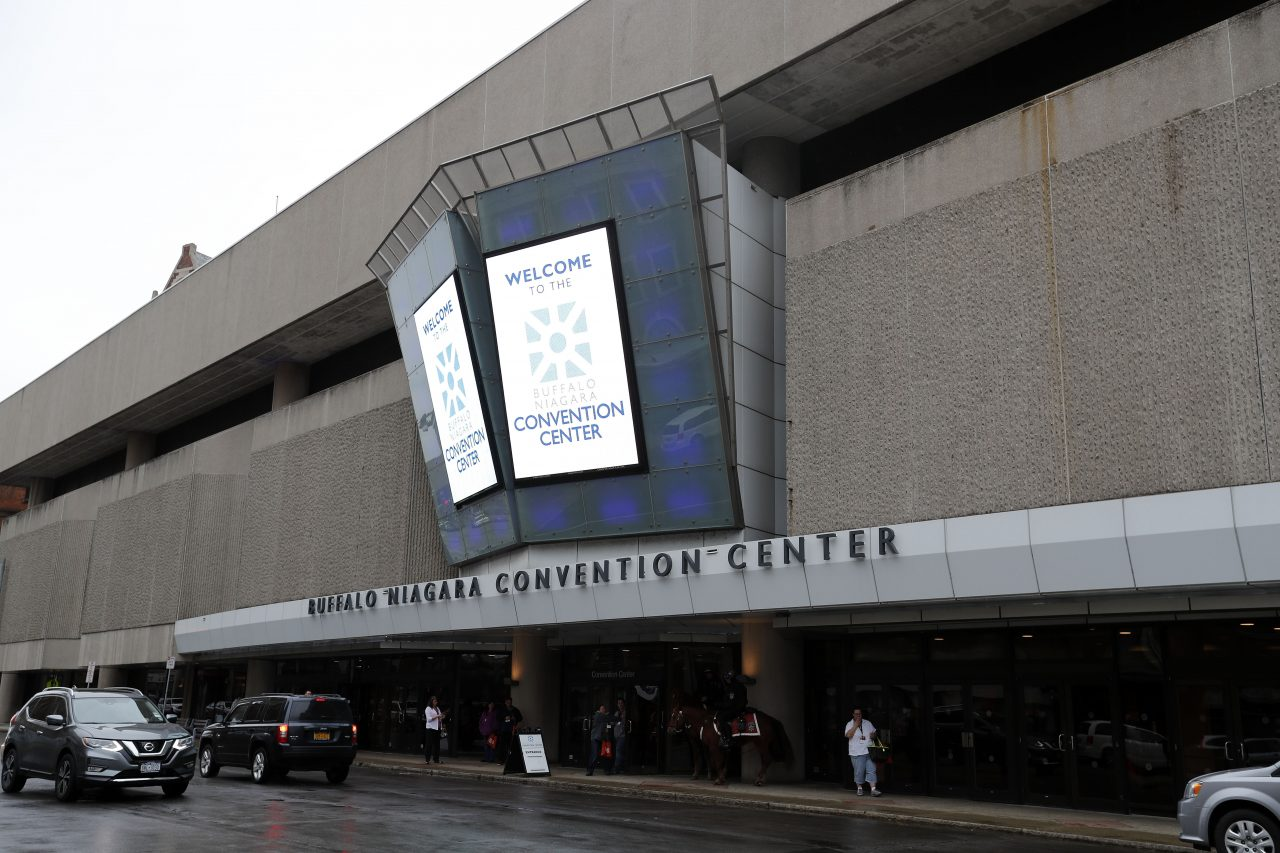 The Buffalo Niagara Convention Center on Franklin Street has been described, with good reason, as a bunker. A new study proposes options for a new and improved convention center. (Mark Mulville/Buffalo News)