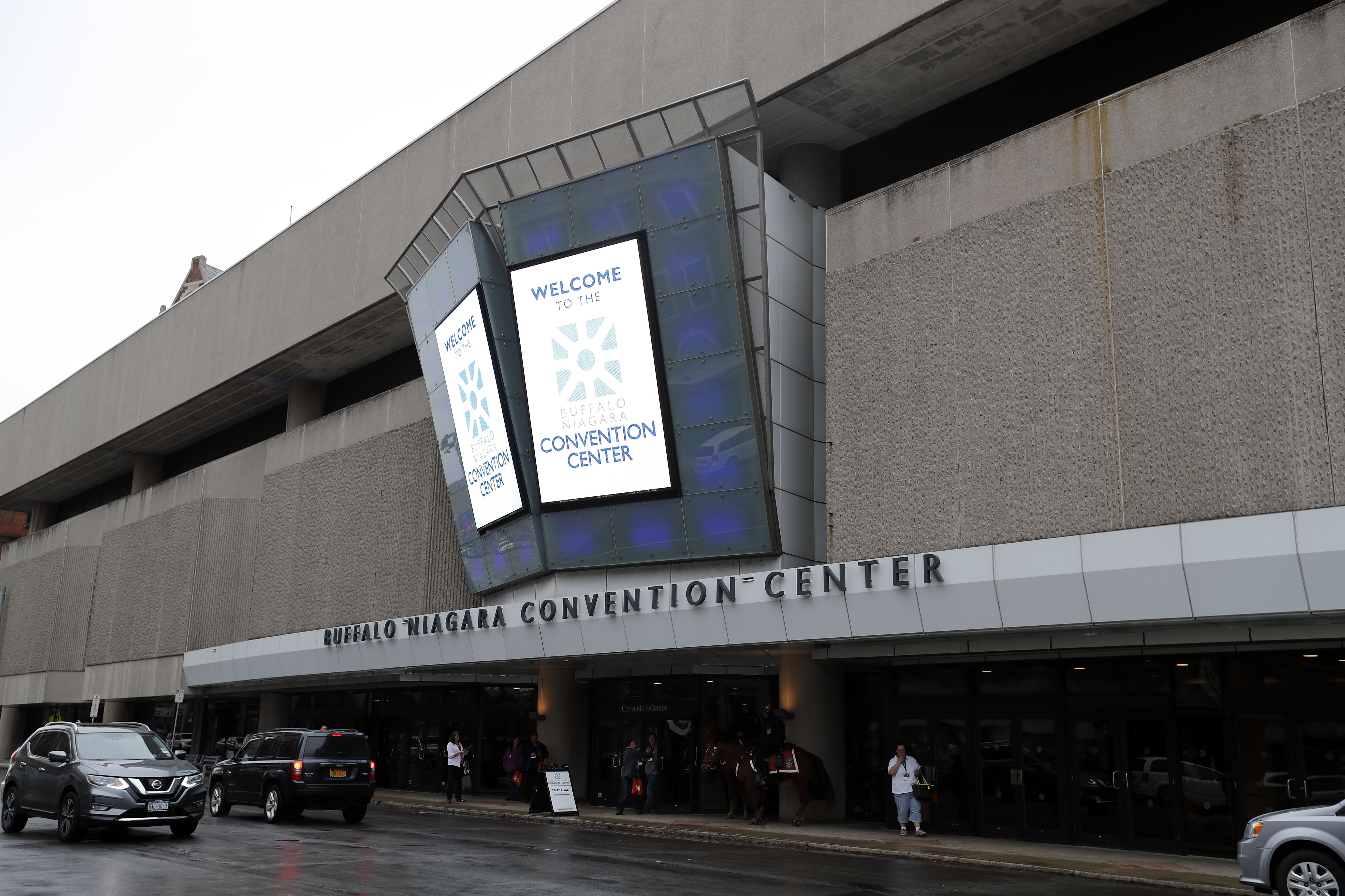The Buffalo Niagara Convention Center on Franklin Street has been described, with good reason, as a bunker. (Mark Mulville/Buffalo News)