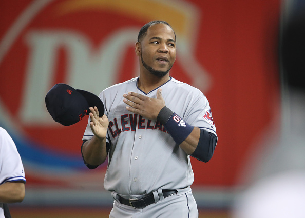 Cleveland's Edwin Encarnacion acknowledges the ovation he received from Rogers Centre fans after a pregame video tribute (Getty Images).