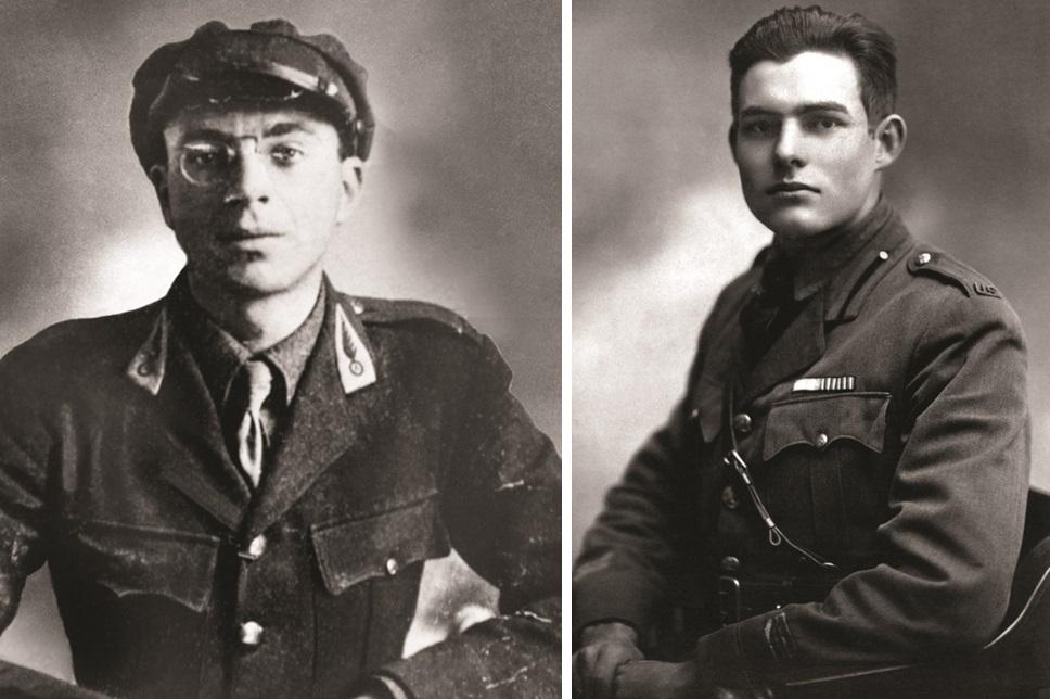 John Dos Passos, left, and Ernest Hemingway.