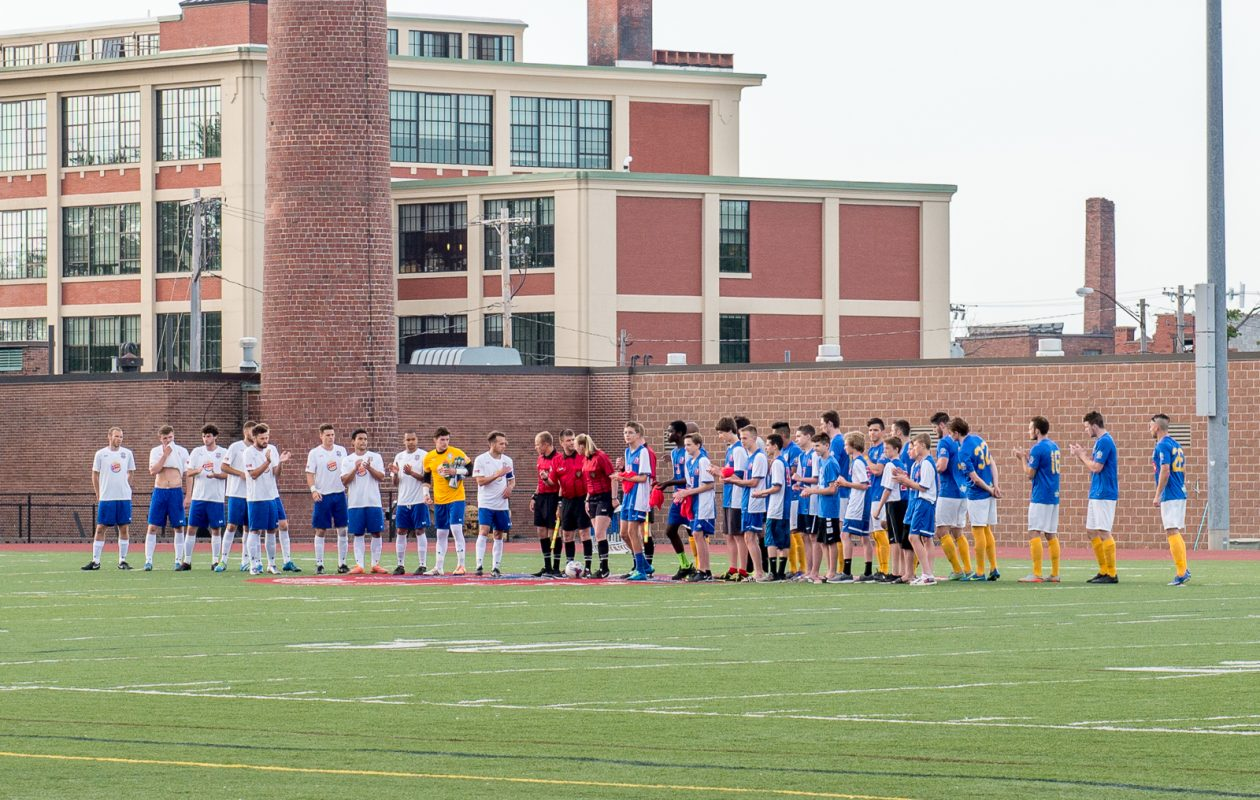 FC Buffalo and Erie lineup for pregame introductions in 2016. The Wolves beat Erie, 2-1, in the match pictured. (Matt Weinberg/Special to The News)