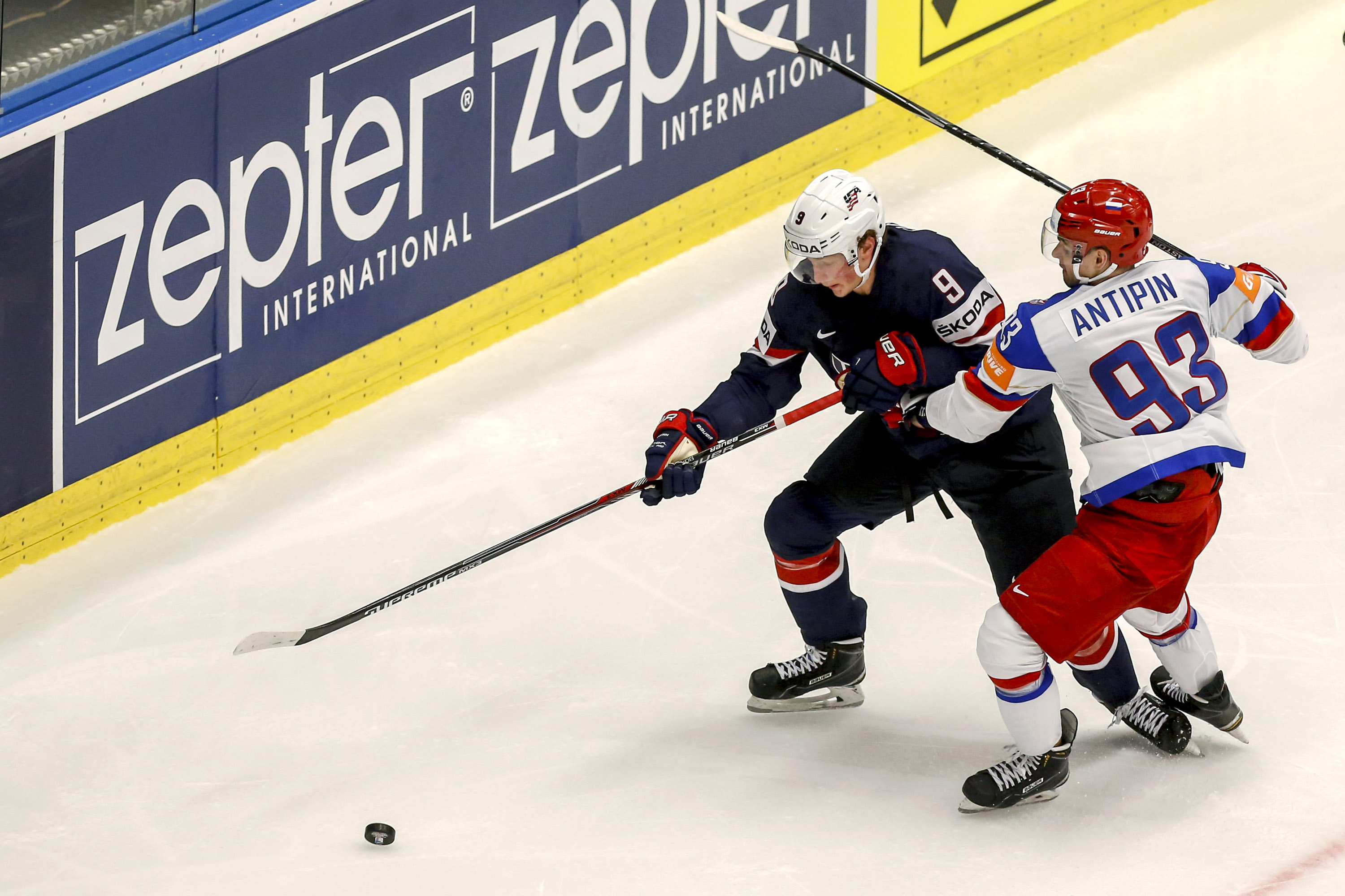 Russian defenseman Viktor Antipin battled with USA's Jack Eichel during the 2015 world championships. (Getty Images)