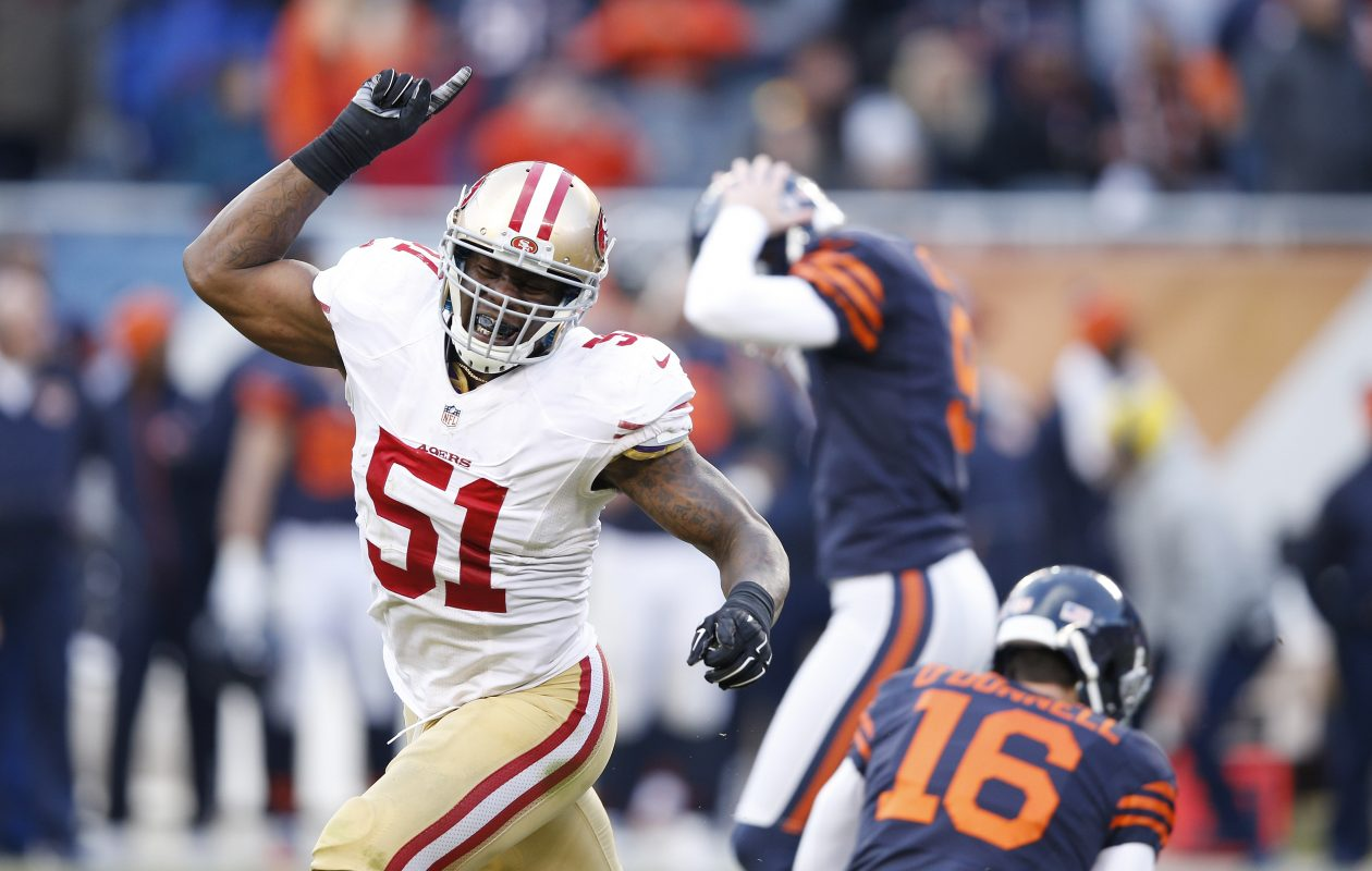 New Bills linebacker Gerald Hodges started 12 games with the 49ers in 2016. (Getty Images)