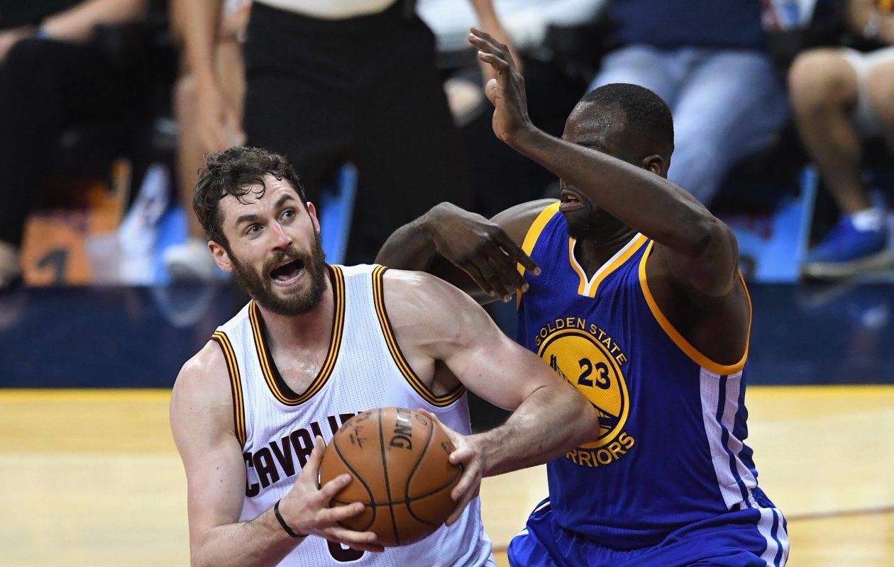 Kevin Love, left, will need to keep up his playoff pace if the Cavaliers are to repeat as NBA champions. (Getty Images)