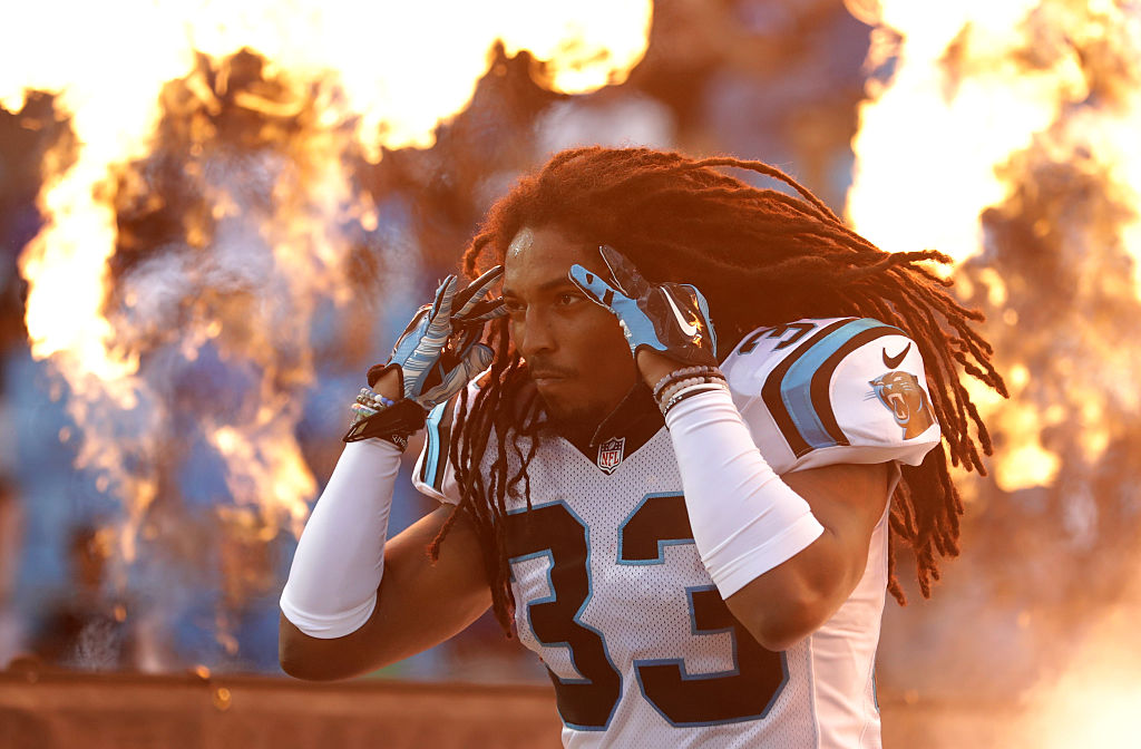 Tre Boston of the Carolina Panthers takes the field prior to their game against the New England Patriots at Bank of America Stadium on August 26, 2016 in Charlotte, N.C.  (Getty Images)