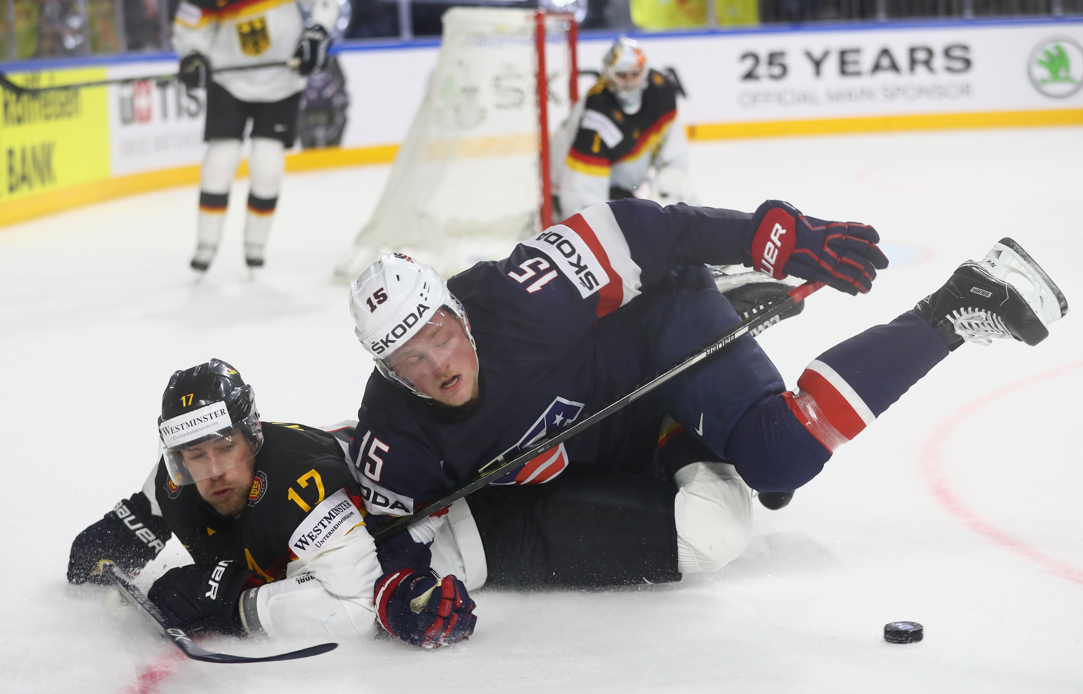 Jack Eichel and the United States fell to Marcus Kink and Germany despite a 43-27 shot edge. (Getty Images)