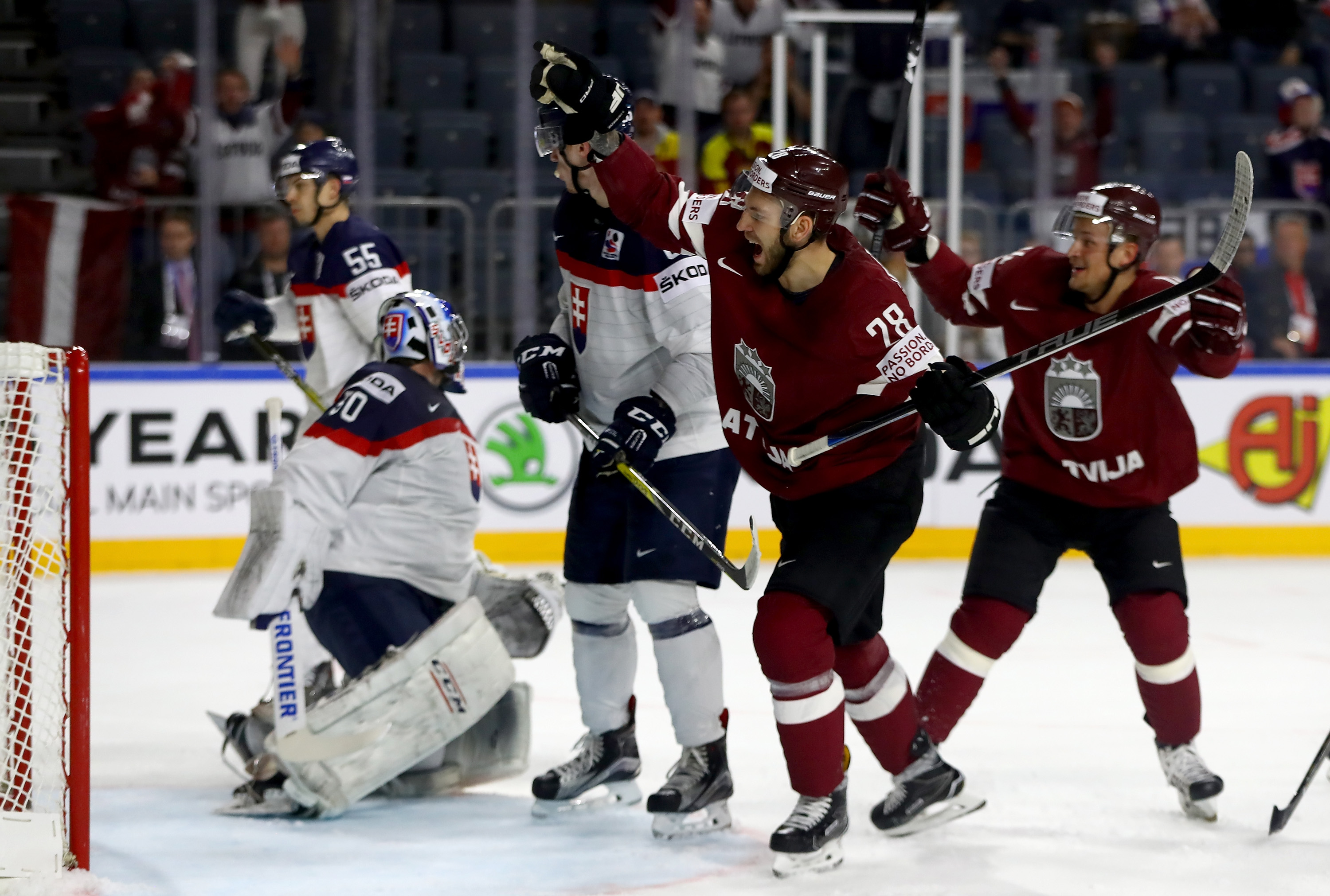 Zemgus Girgensons (28) and Latvia will face Jack Eichel and the United States on Saturday. (Getty Images)