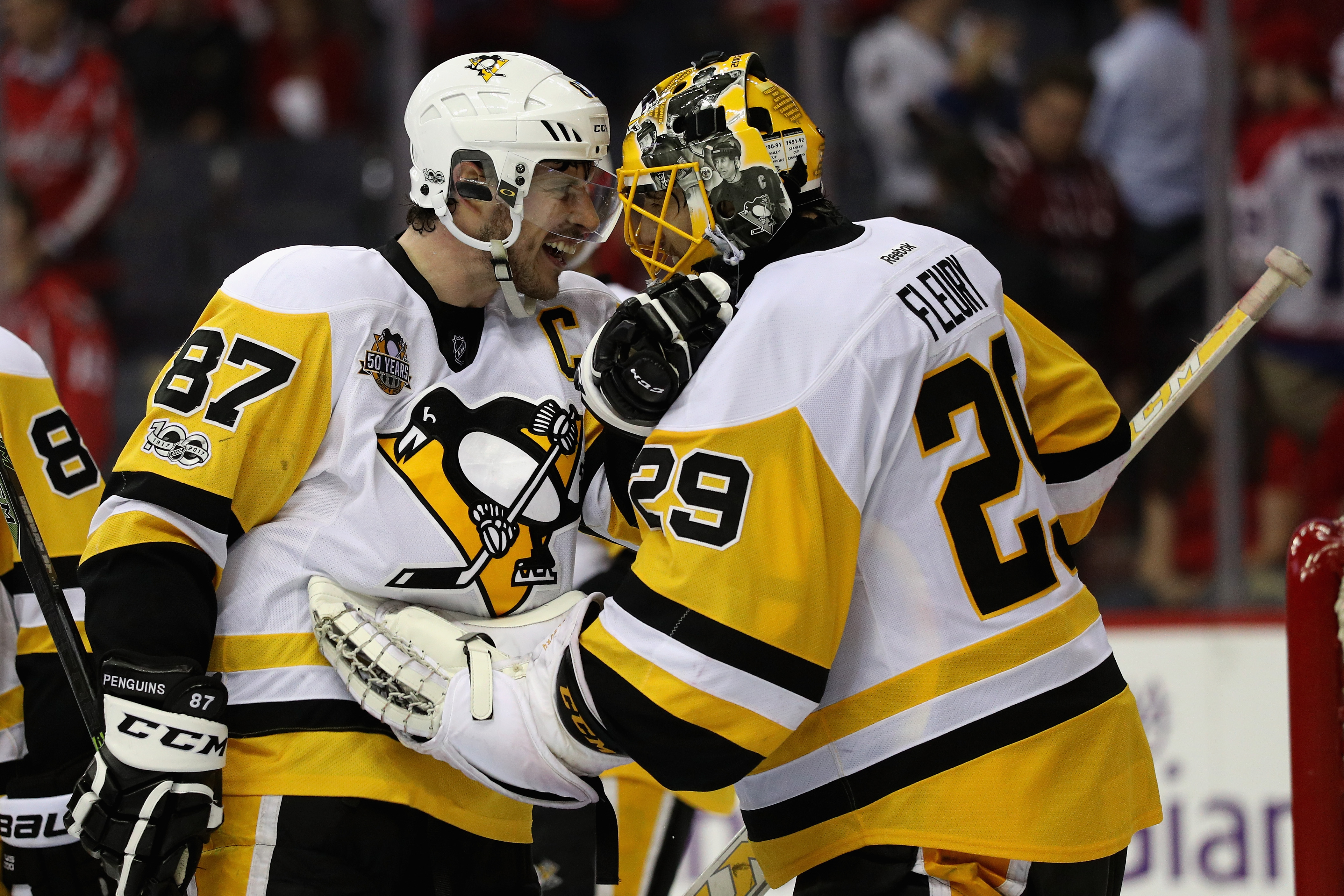 The Penguins' Sidney Crosby and Marc-Andre Fleury beat Washington ... again. (Getty Images)