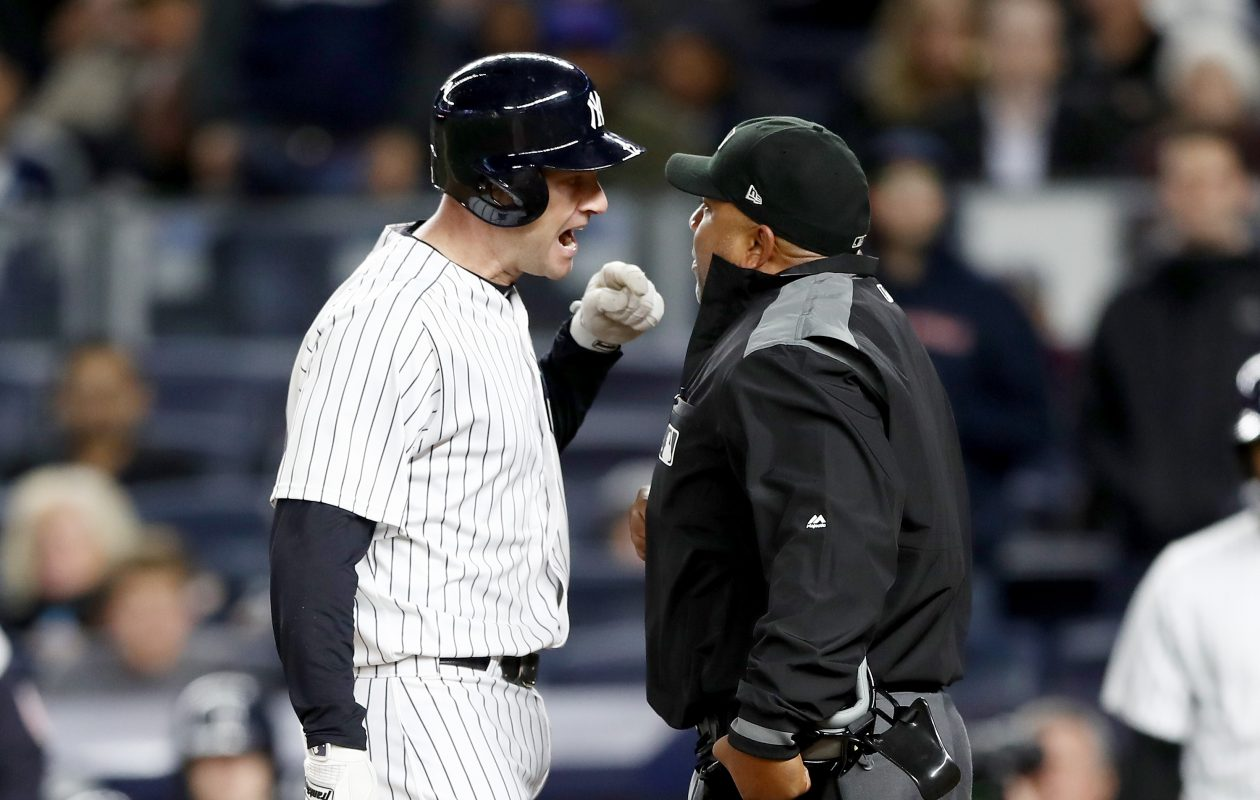 Yankee Chase Headley argues home plate umpire Adrian Johnson. (Elsa/Getty Images)