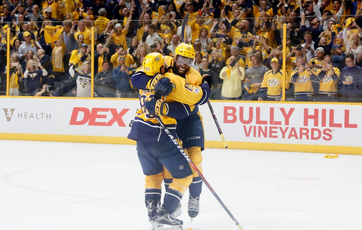 NASHVILLE, TN - MAY 22:  P.K. Subban #76 and Vernon Fiddler #83 of the Nashville Predators celebrate after they scored during the third period against the Anaheim Ducks in Game Six of the Western Conference Final during the 2017 Stanley Cup Playoffs at Bridgestone Arena on May 22, 2017 in Nashville, Tennessee.  (Photo by Frederick Breedon/Getty Images)