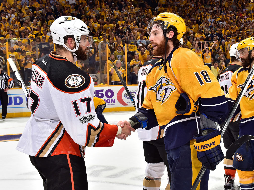 Taems shake hands after the Predators victory over the Ducks in Game Six of the Western Conference Final during the 2017 NHL Stanley Cup Playoffs (Getty Images)