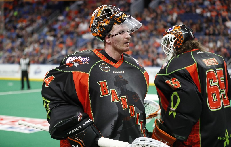 If Anthony Cosmo (left) does retire, is Dave DiRuscio (right) ready to step in as the No. 1 goalie? That's one of the questions facing the Bandits as they enter the offseason. (Photo by Harry Scull Jr. / Buffalo News)