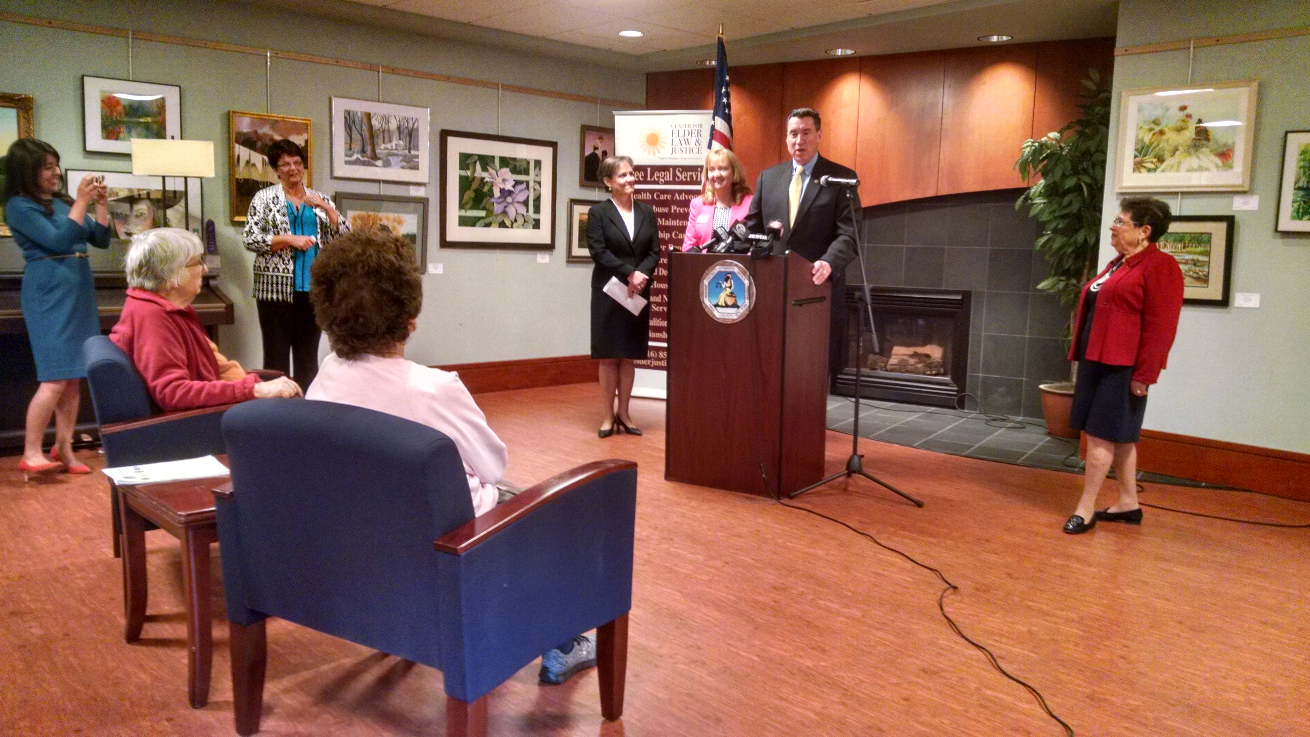 Erie County District Attorney John J. Flynn announces the creation of a task force to more aggressively pursue cases of suspected elder financial abuse Thursday in Amherst Senior Center.