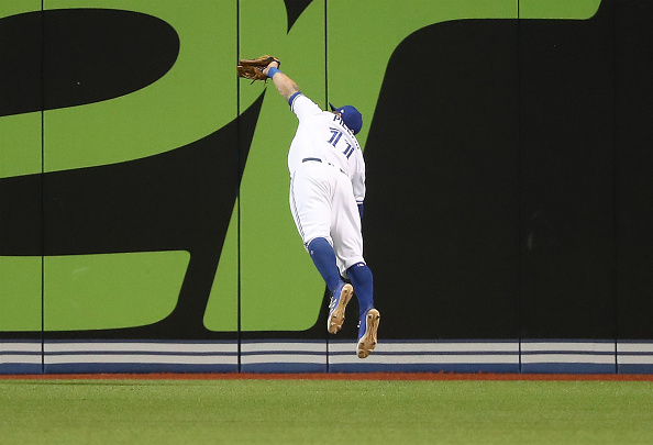 Kevin Pillar's diving catch Monday night off Cleveland's Jose Ramirez was a rare highlight for the Blue Jays this season (Getty Images).