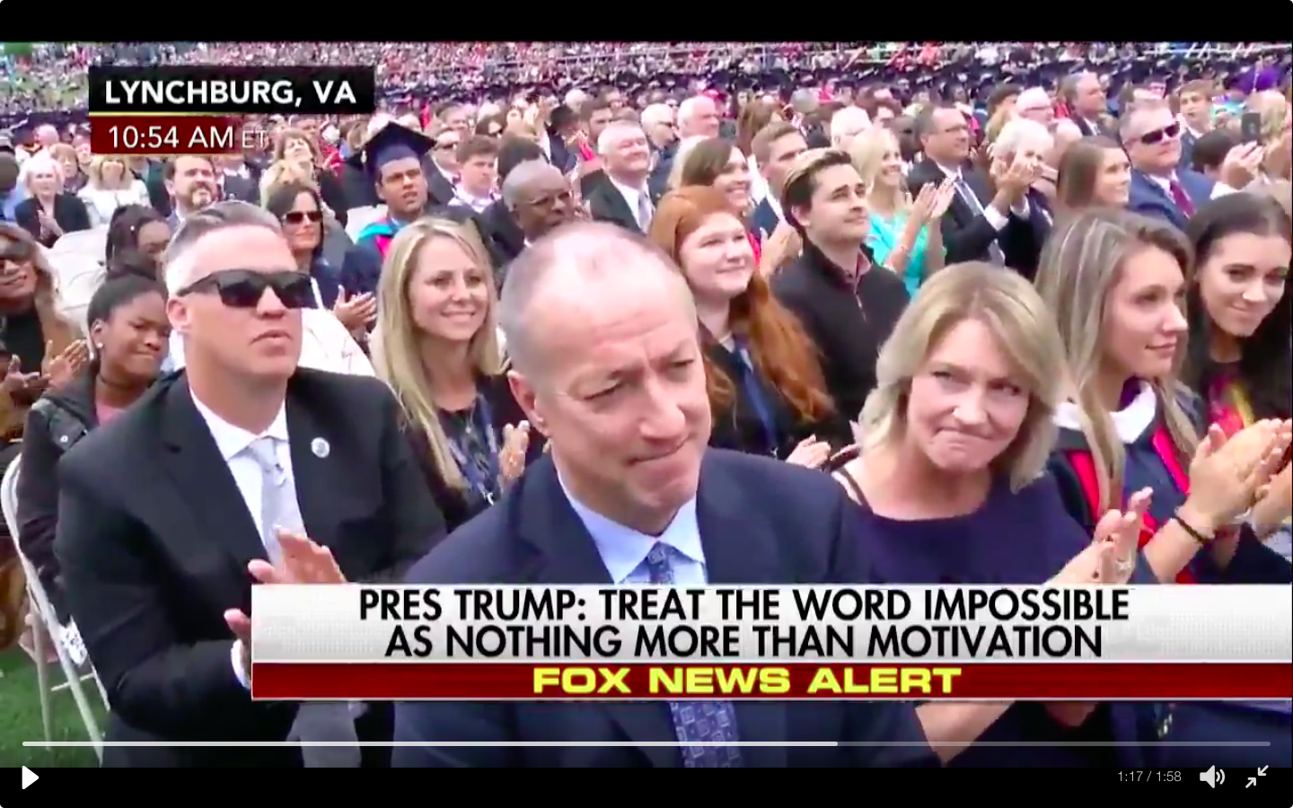 Jim Kelly and his wife, Jill, were recognized Saturday during President Trump's commencement speech at Liberty University.