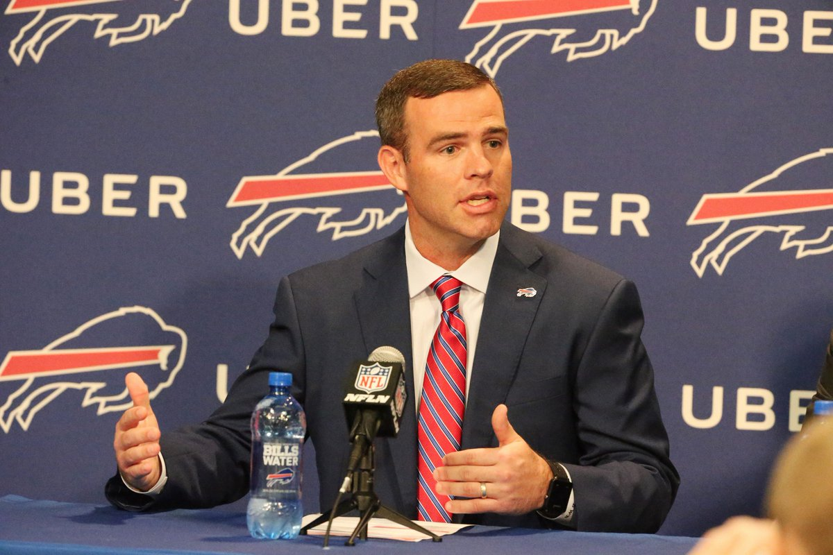 Bills General Manager Brandon Beane says he doesn't know what the team plans to do just yet at next month's draft. (James P. McCoy/Buffalo News)