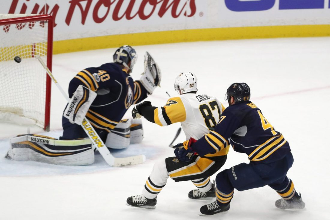 Sidney Crosby's highlight-reel backhand burned Robin Lehner and Zach Bogosian March 21 in KeyBank Center (James P. McCoy/Buffalo News).