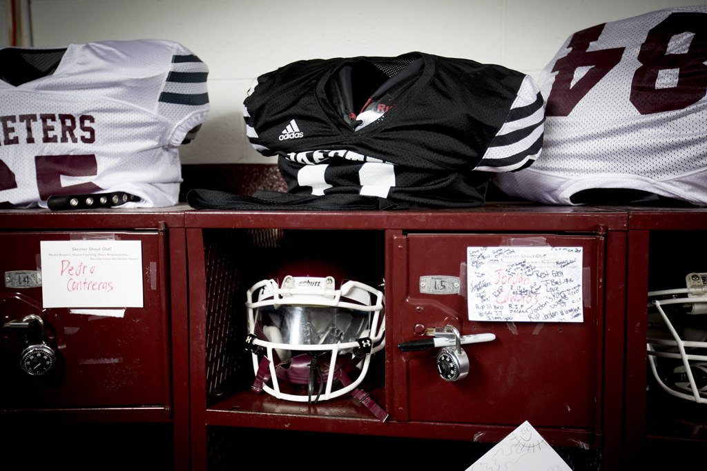 A memorial created for 15-year-old Jordan Edwards, a Mesquite High School freshman fatally shot in the head by a police officer, at his football locker, in Dallas, April 29, 2017. (New York Times)