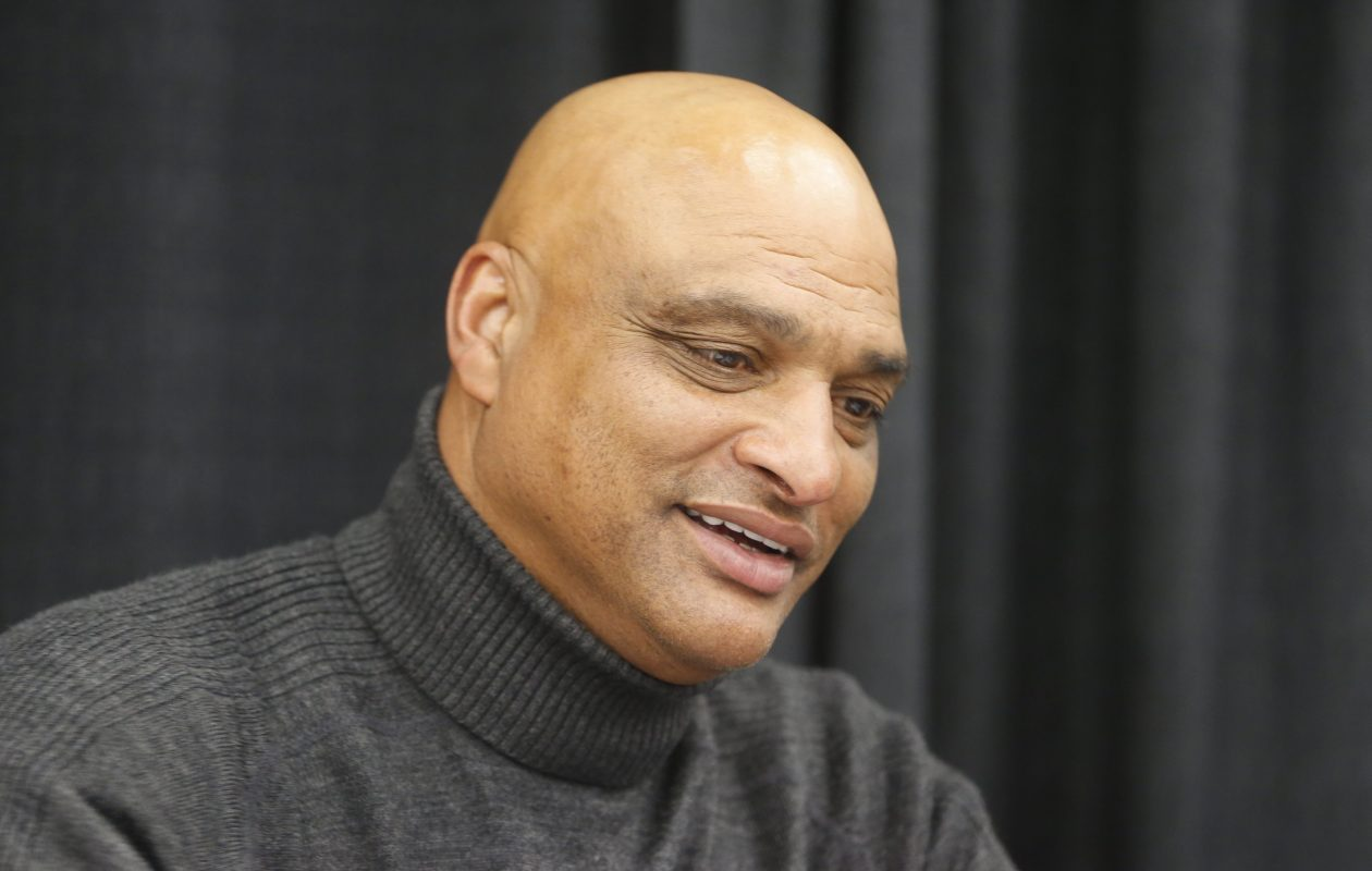 Darryl Talley loves him some Sean McDermott so far. (John Hickey/Buffalo News)